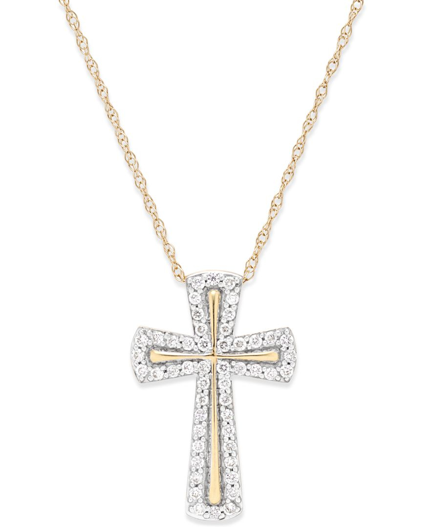 Macy S Diamond Cross Pendant Necklace 1 4 Ct T W In
