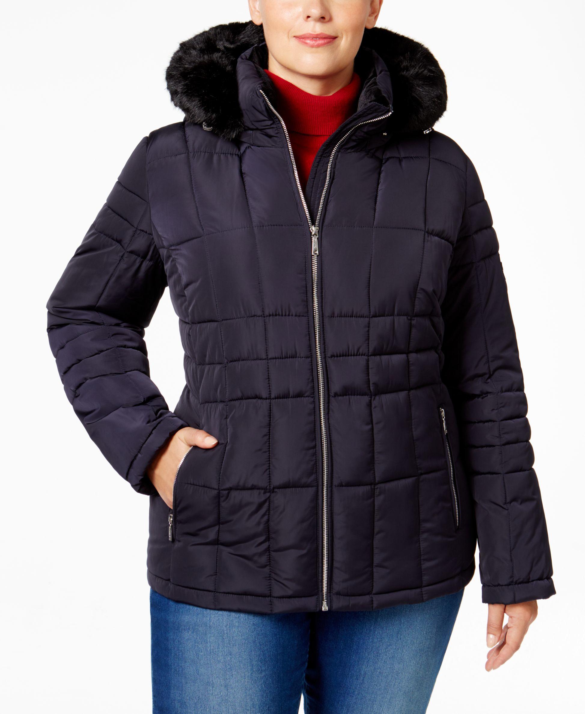 Calvin Klein Plus Size Faux Fur Trim Puffer Coat In Blue