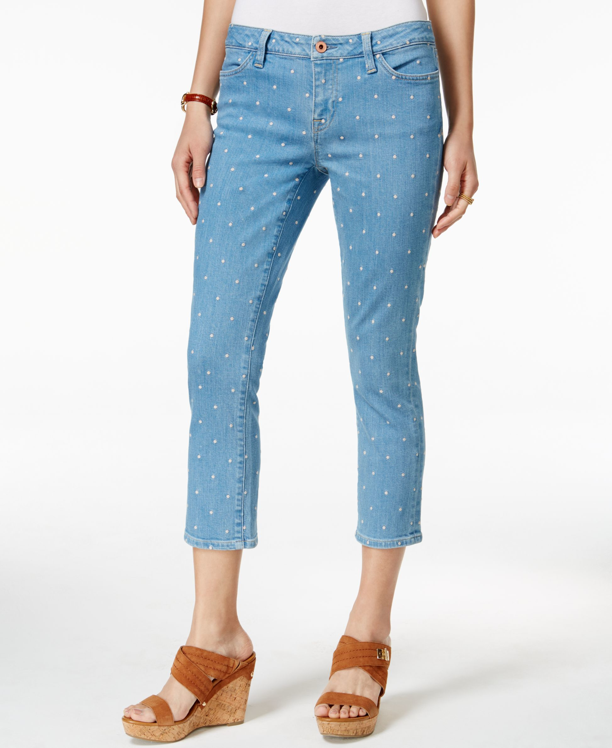 Tommy hilfiger embroidered dot cropped jeans in blue lyst