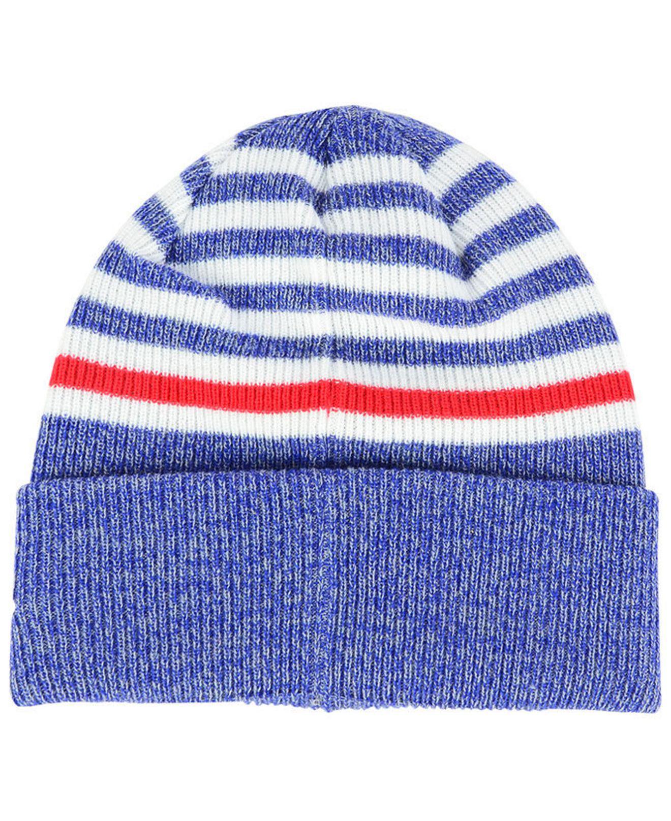 9659f9190ea ... ebay lyst ktz new york giants striped2 cuff knit hat in blue 8f173 2ed3a