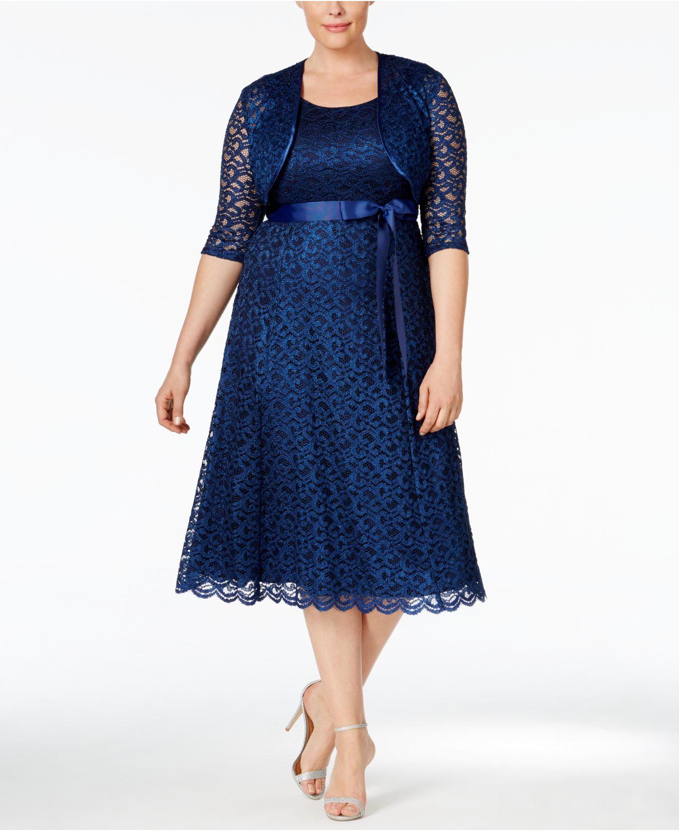 Macys Navy Blue Dresses: R & M Richards Plus Size Sequined Lace Dress And
