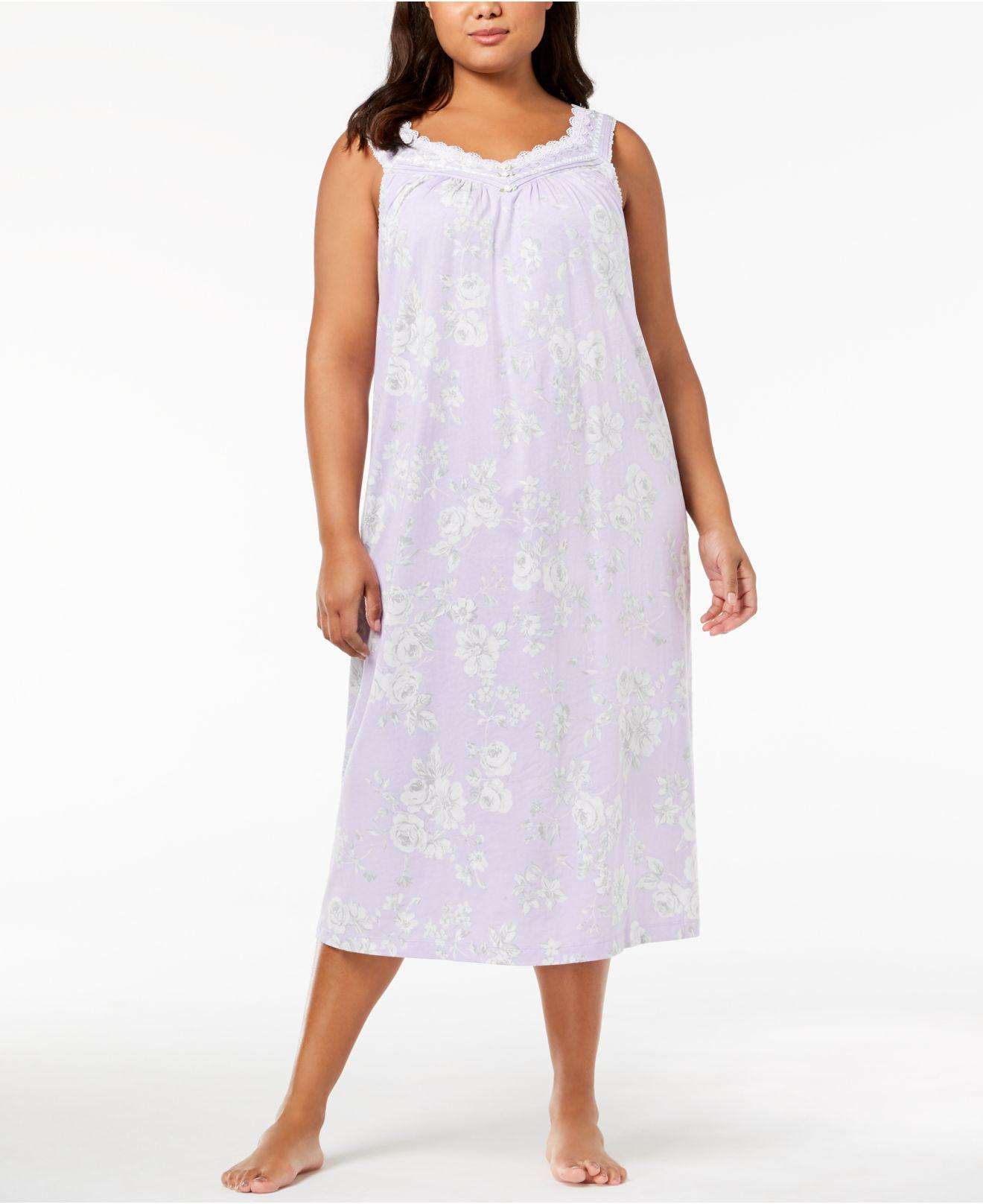 Lyst - Charter Club Plus Size Lace-trim Cotton Nightgown, Created ...