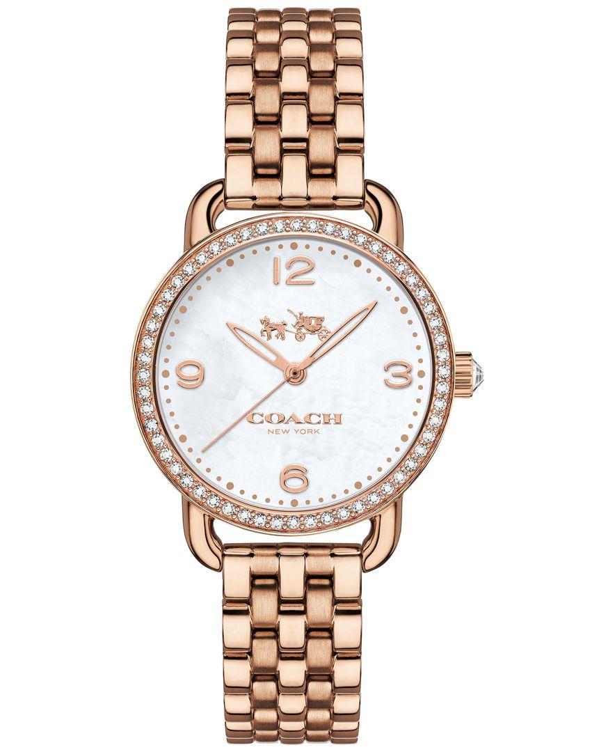 Lyst Coach Women S Delancey Rose Gold Tone Bracelet Watch 28mm