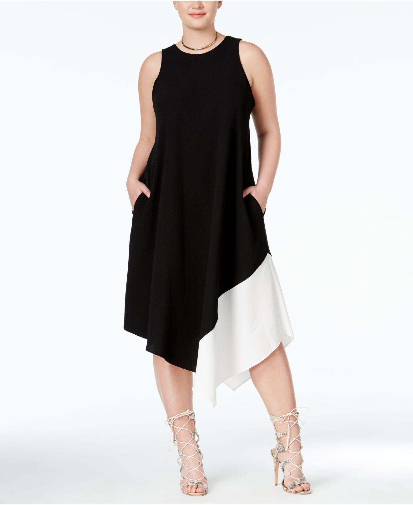 Rachel rachel roy curvy plus size colorblocked for Handkerchief shirt plus size
