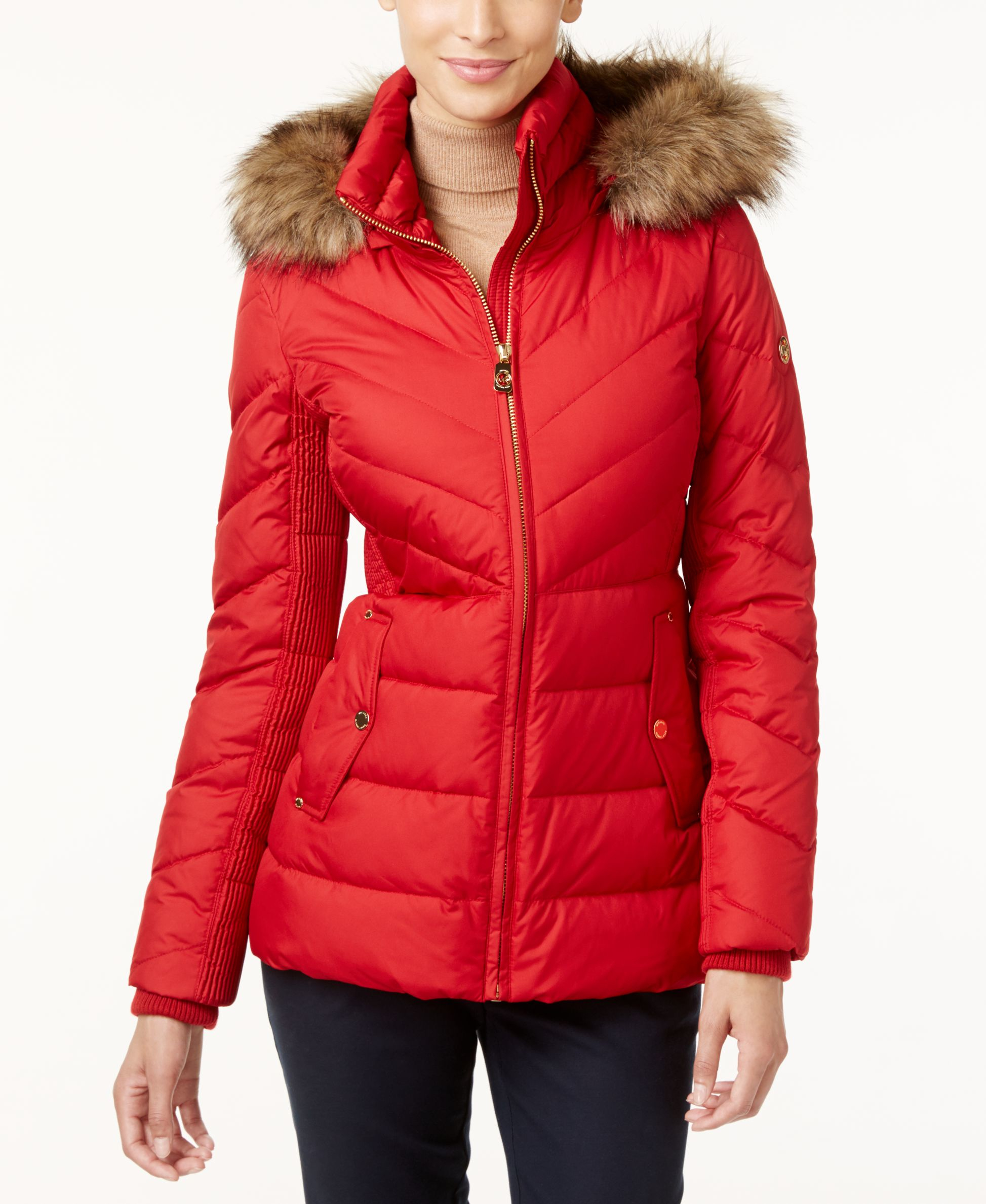 Michael Kors Michael Faux Fur Trim Hooded Puffer Coat In