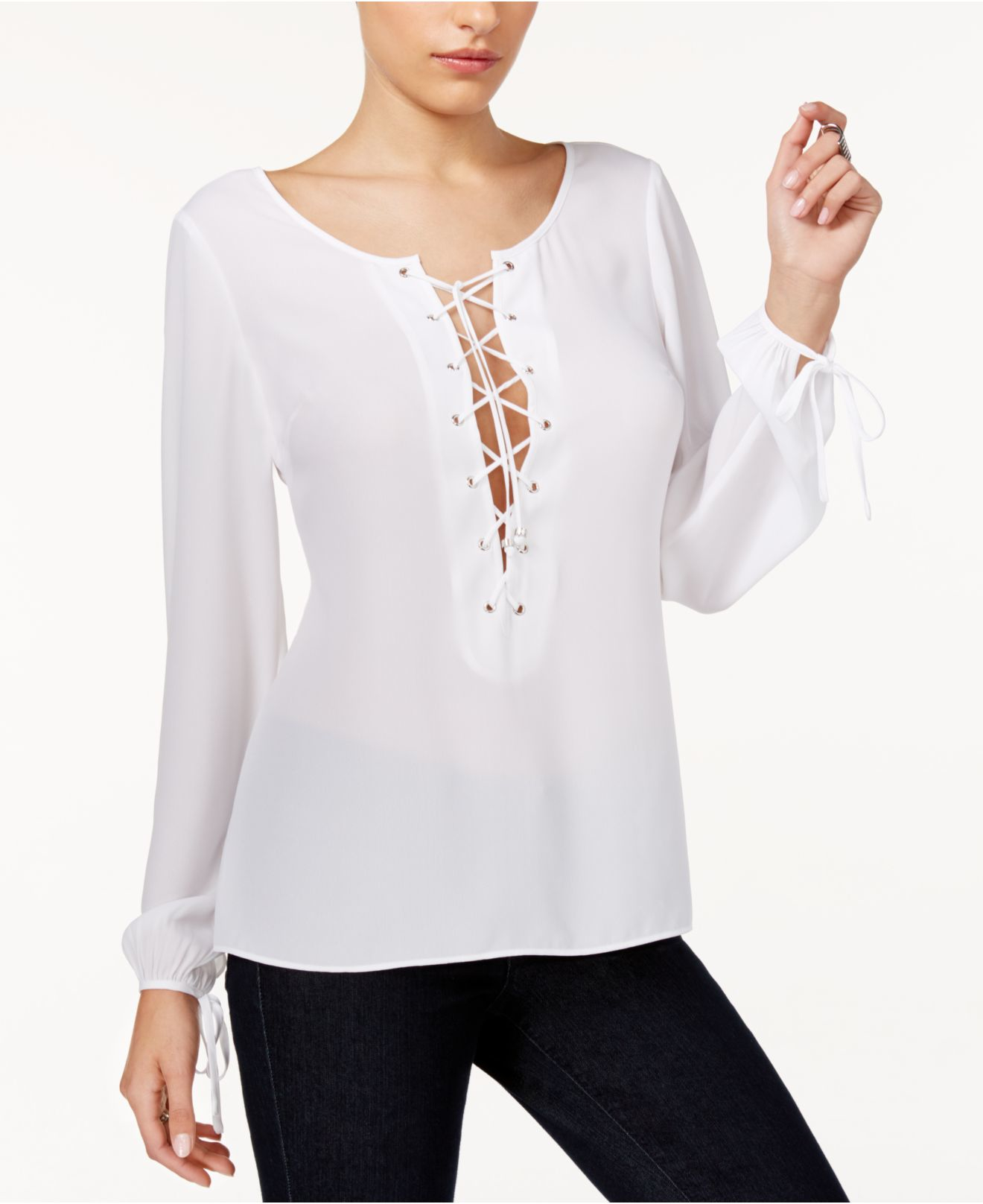 Guess Nanette Lace-up Blouse in White (True White) - Save ...