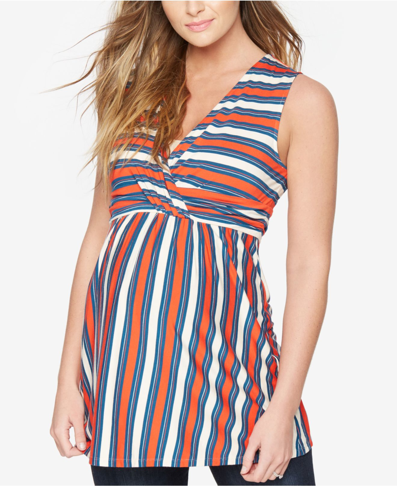 Rachel zoe Maternity Striped Sleeveless Top