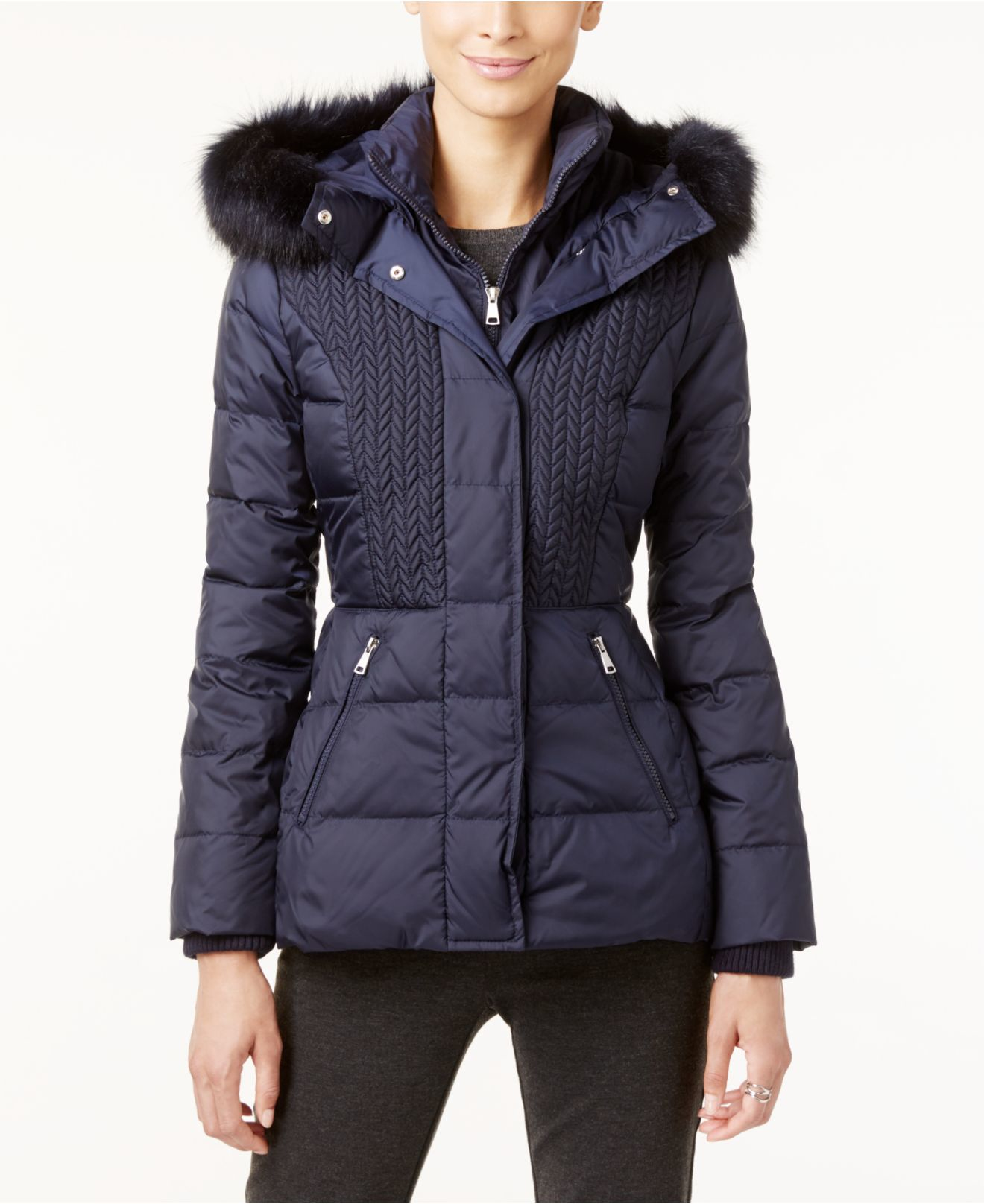 Jones New York Faux Fur Trimmed Hooded Quilted Puffer Coat