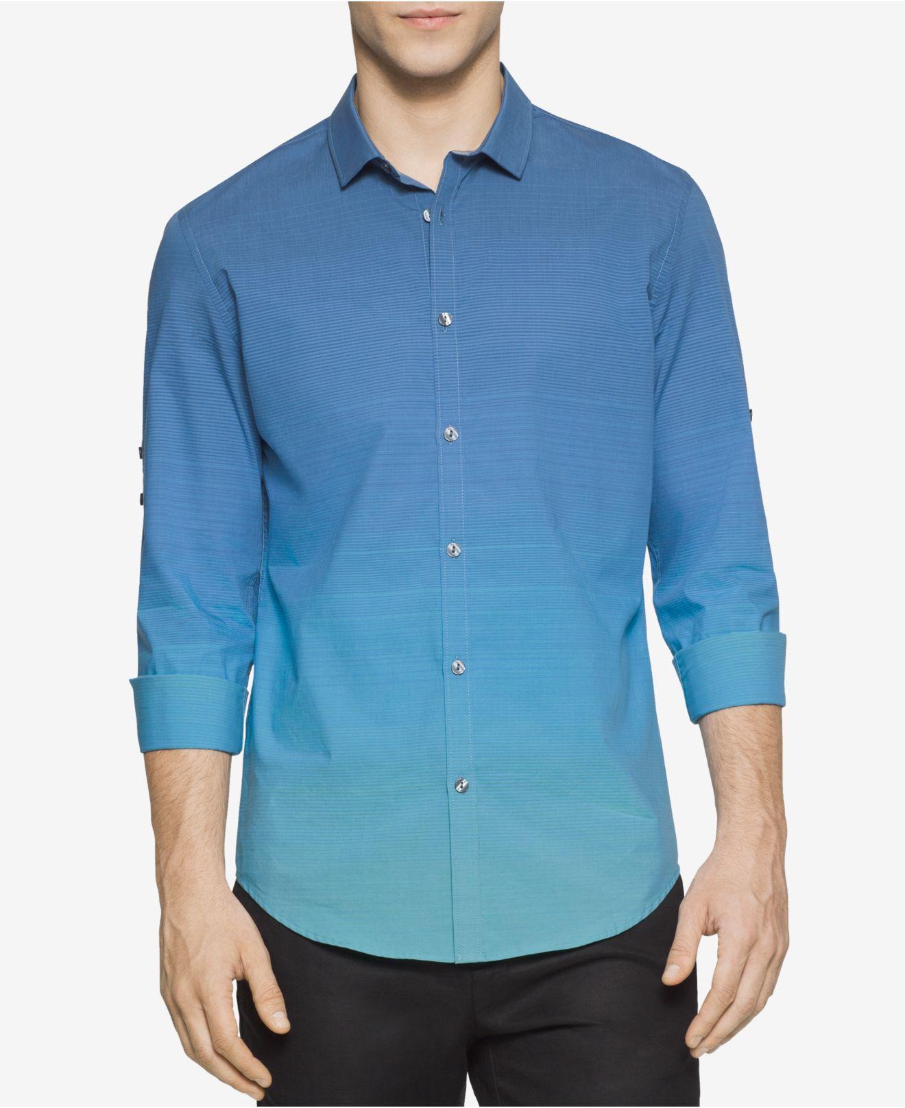Calvin klein men 39 s slim fit colorblocked horizontal for Horizontal striped dress shirts men
