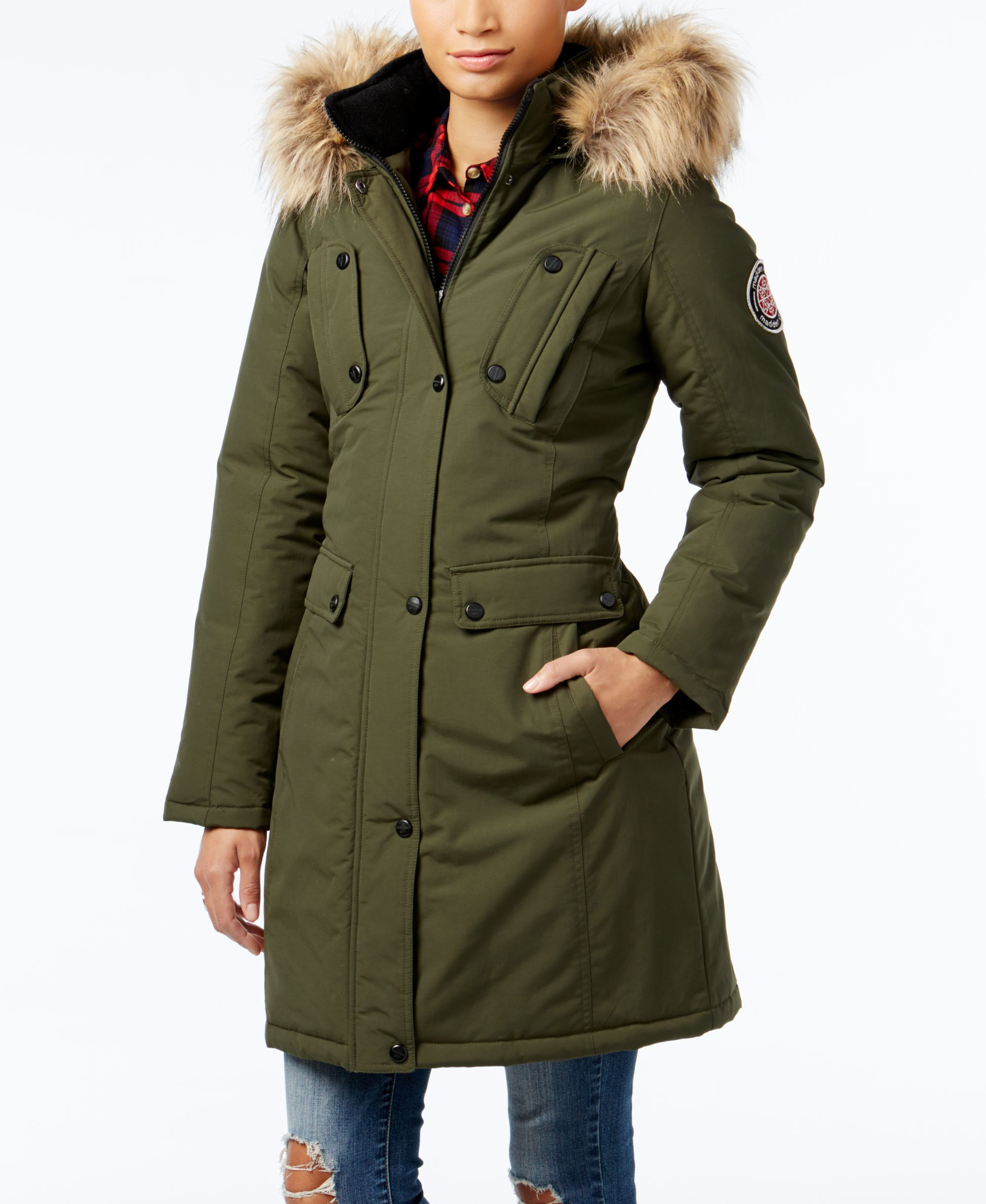 Madden girl Faux-fur-trim Hooded Parka in Green | Lyst