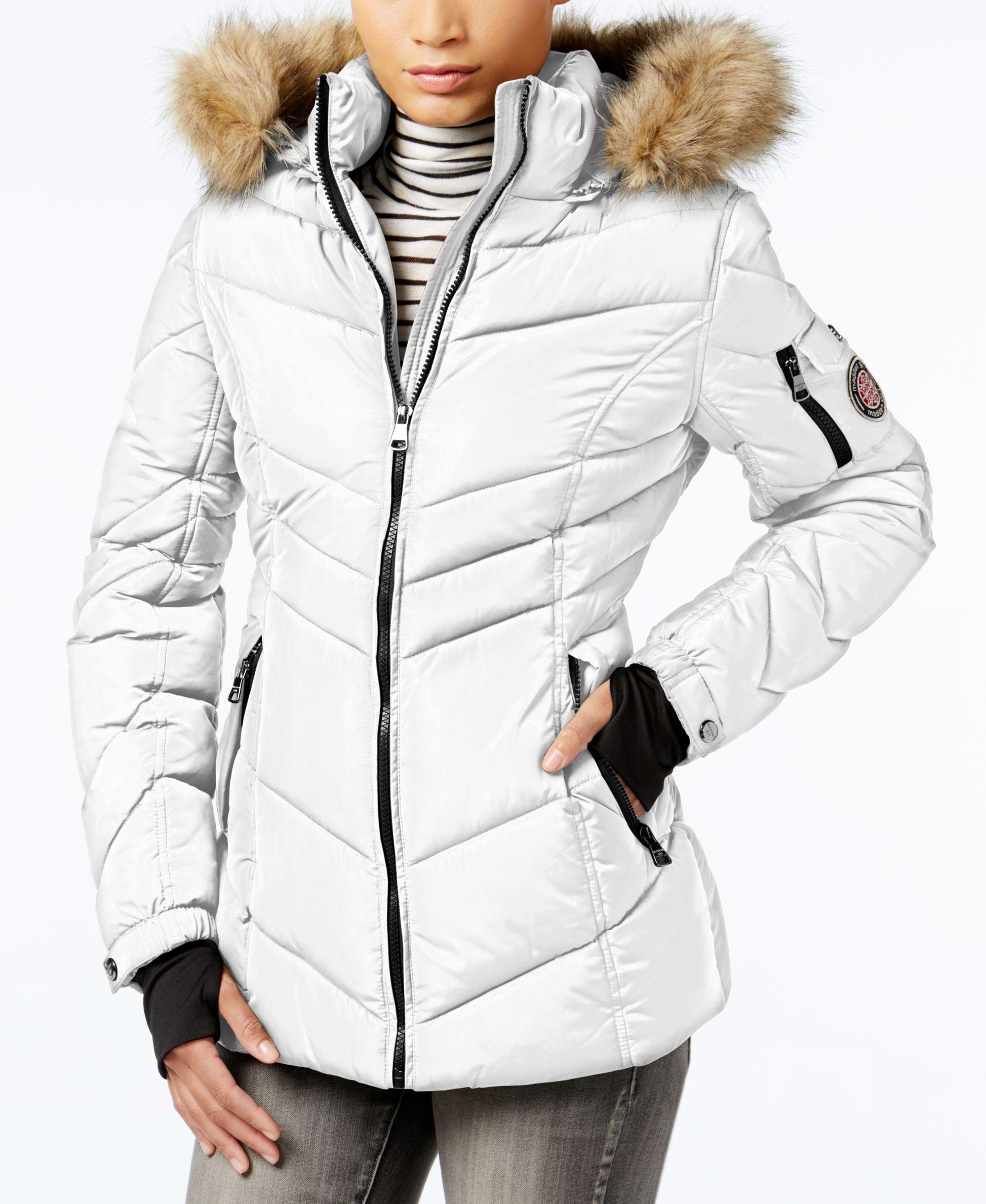 Madden girl Faux-fur-trim Hooded Chevron Puffer Coat in White | Lyst