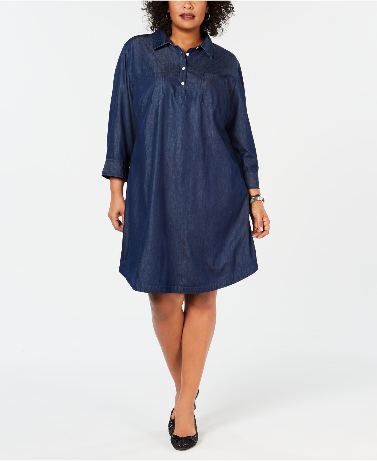 25ff18b1713 Karen Scott. Women s Blue Plus Size Cotton Chambray Shirtdress