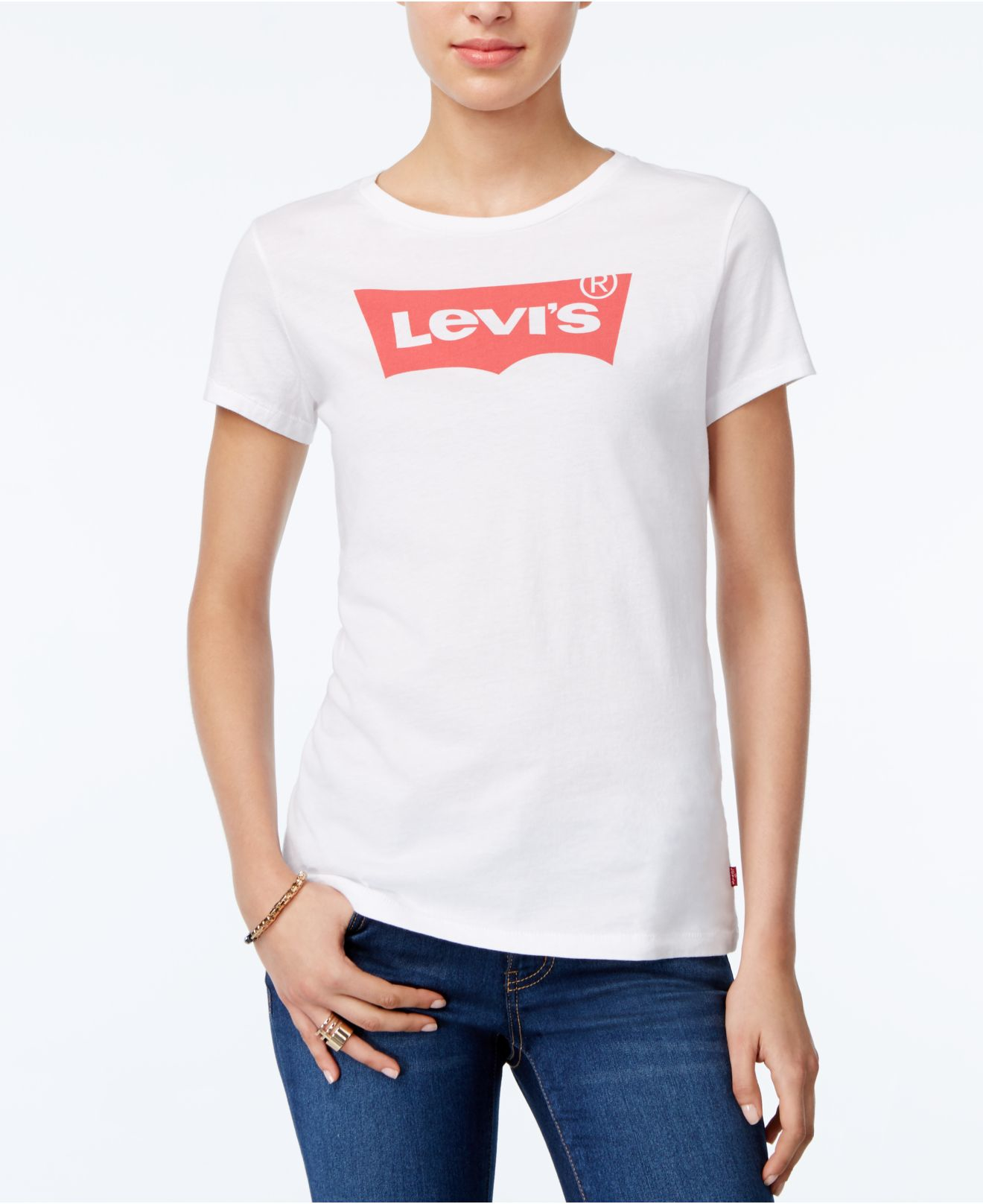 Levi 39 s slim logo graphic t shirt in white lyst for Levis t shirt sale