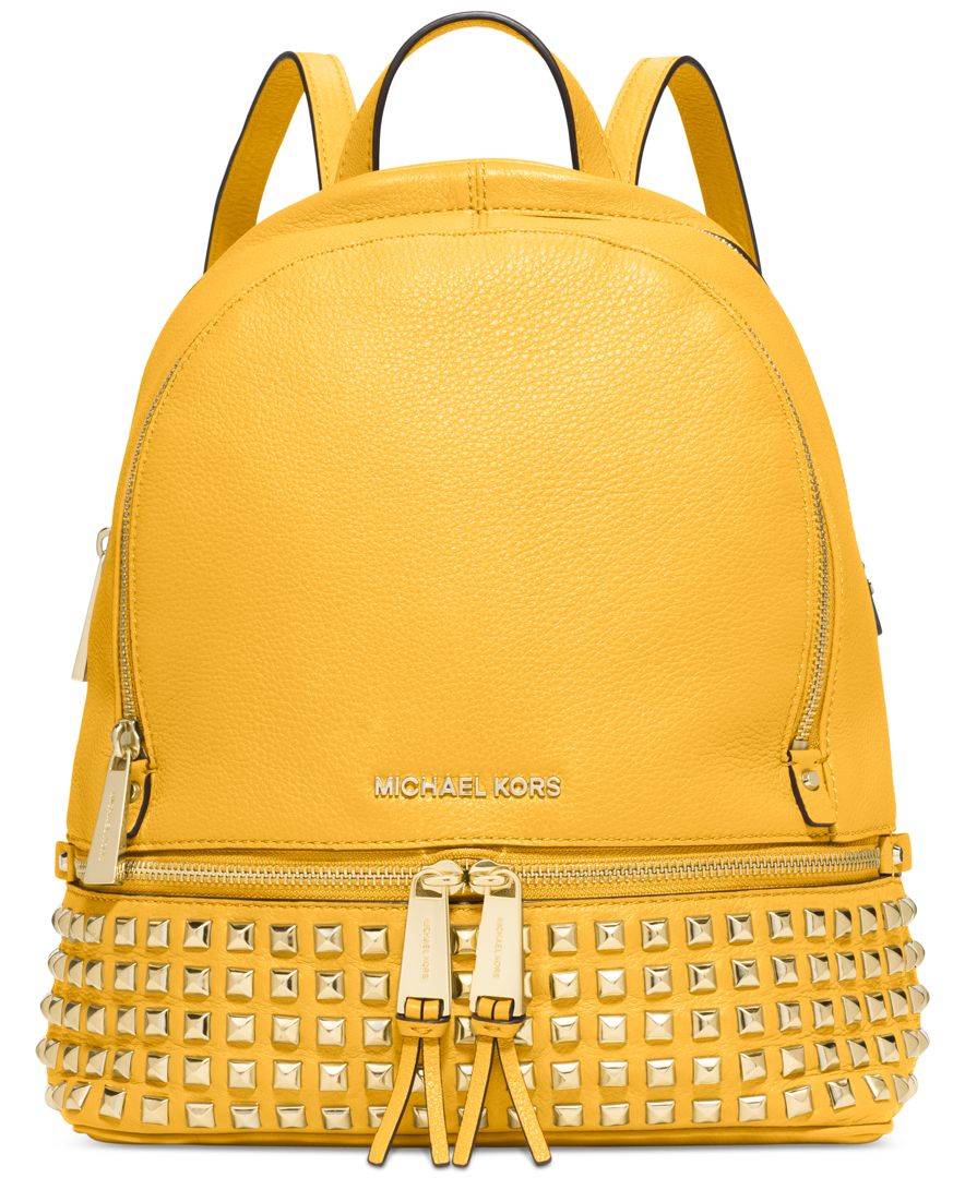 Michael Kors Michael Rhea Small Studded Backpack In Yellow