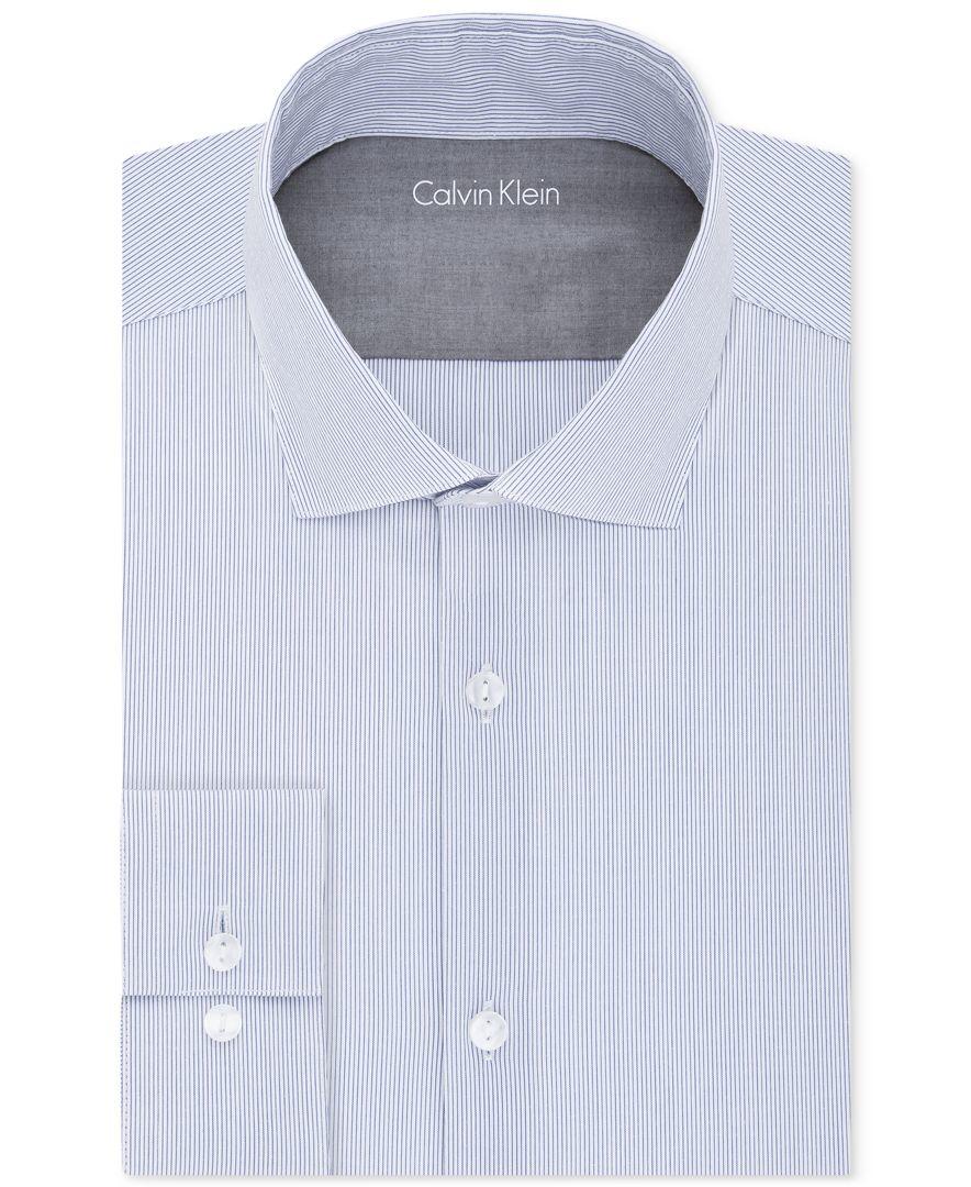 Calvin klein x men 39 s extra slim fit stretch striped dress for Best extra slim fit dress shirts