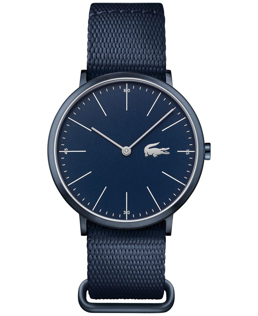 Lacoste Men S Moon Blue Nato Nylon Strap Watch 40mm
