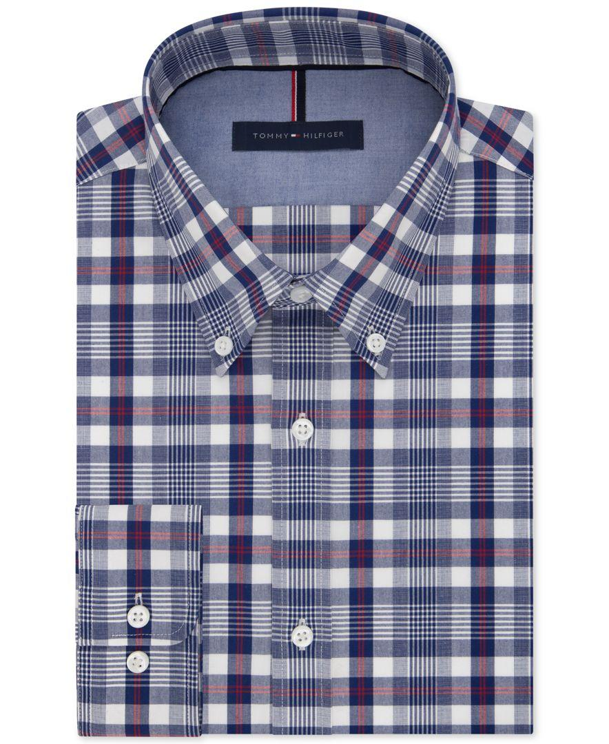 Tommy hilfiger men 39 s slim fit non iron blue check dress for Non iron slim fit dress shirts