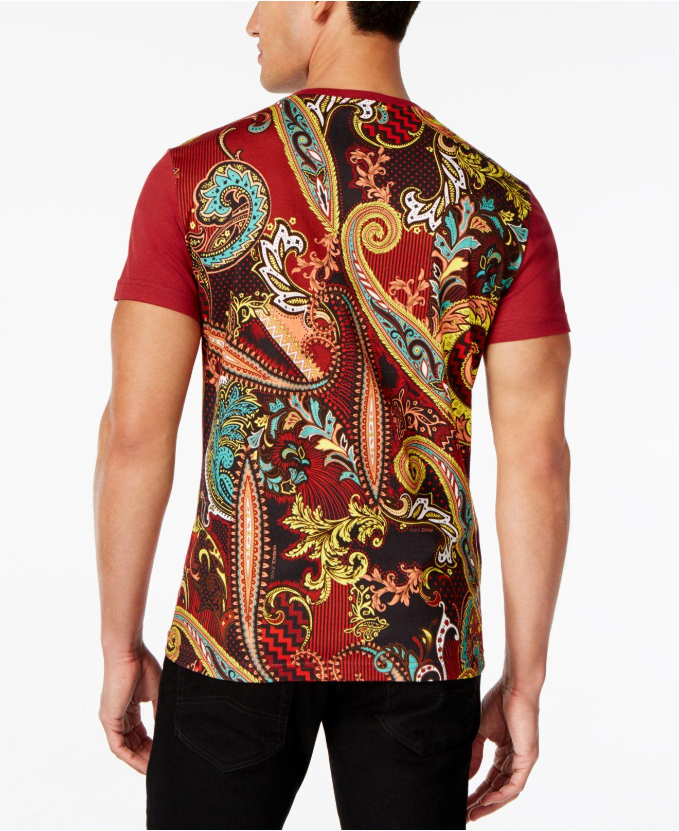 lyst versace jeans men 39 s graphic print t shirt in red for men. Black Bedroom Furniture Sets. Home Design Ideas