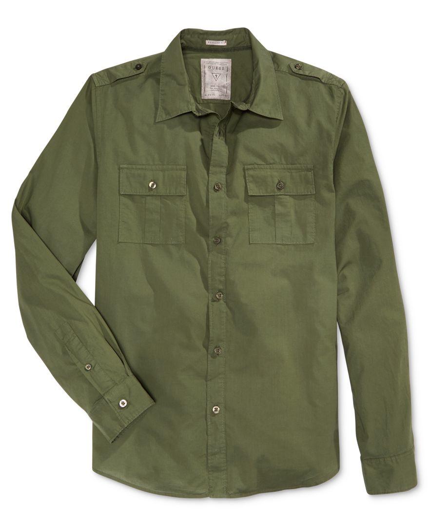 Guess men 39 s long sleeve laguna military shirt in green for for Mens military style long sleeve shirts