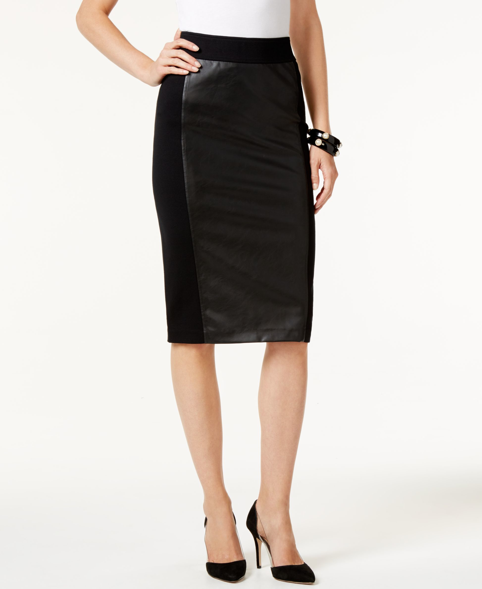 inc international concepts faux leather front pencil skirt