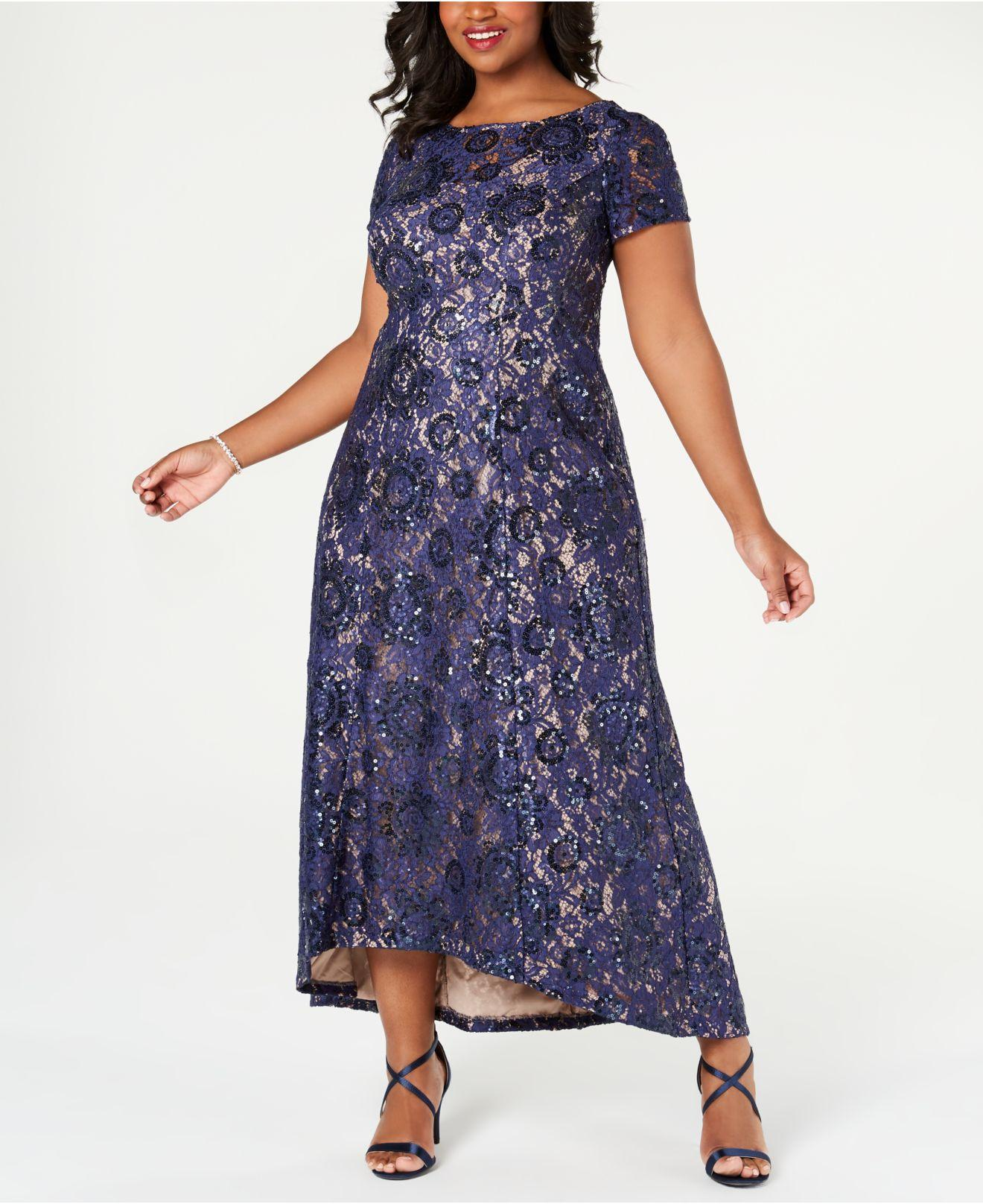 9ada9ba11e Alex Evenings Embroidered Lace A-line Gown in Blue - Lyst