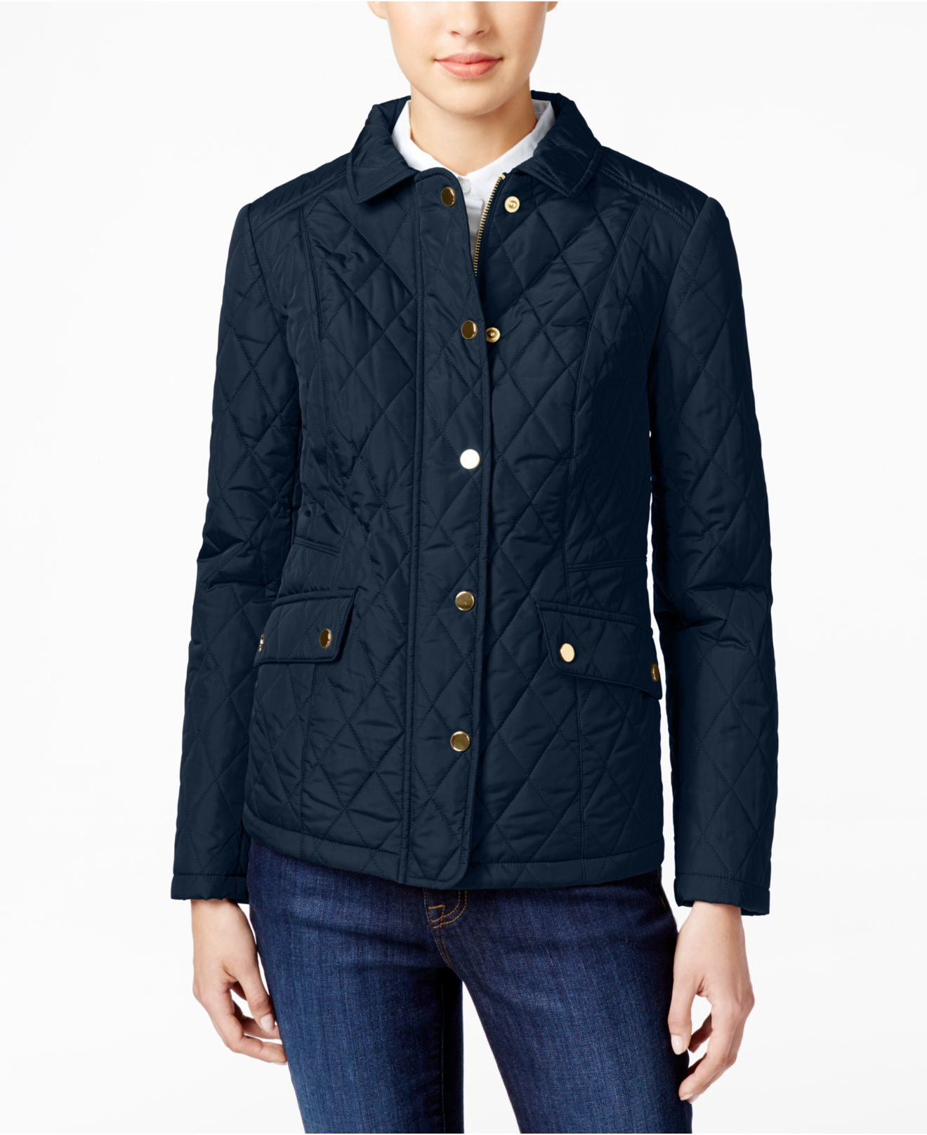 Charter club Quilted Water-resistant Jacket in Blue