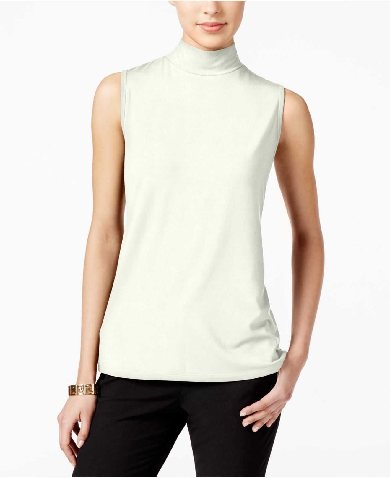 Lyst charter club sleeveless mock turtleneck top for Sleeveless mock turtleneck shirts