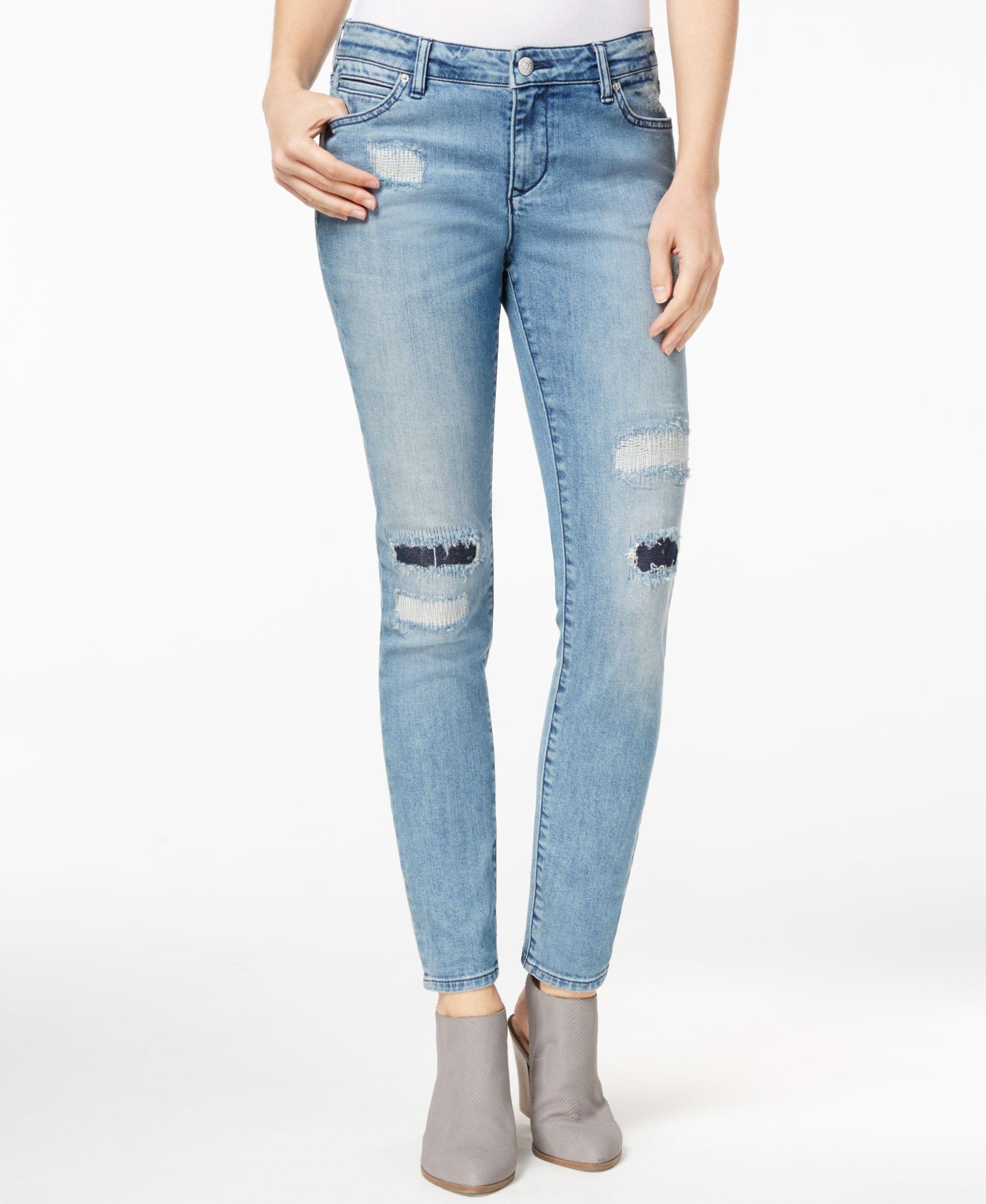 Armani exchange Rip u0026 Repair Light Blue Wash Skinny Jeans in Blue | Lyst