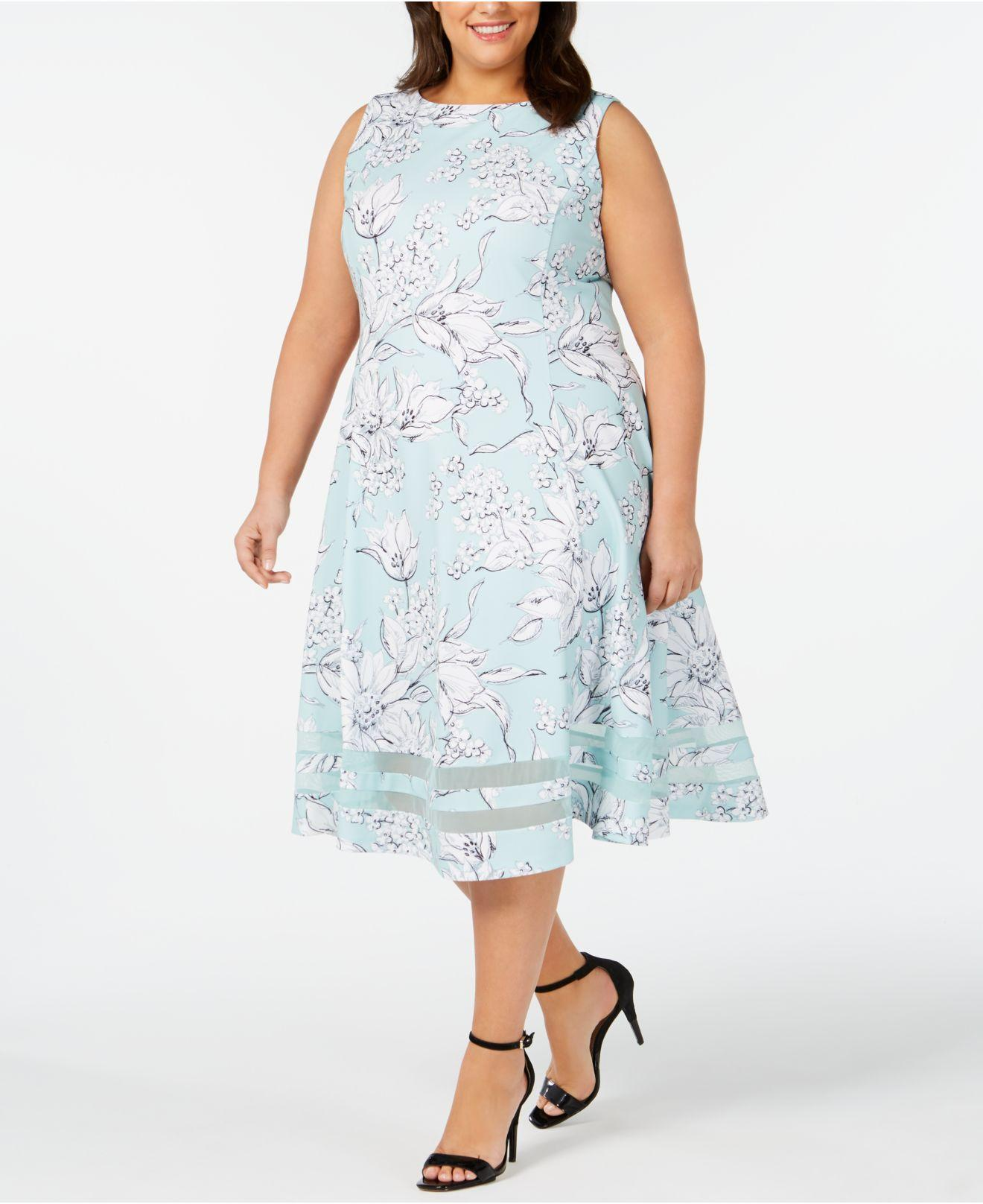 a72ed519ea Calvin Klein Plus Size Floral Midi Fit   Flare Dress in Blue - Lyst