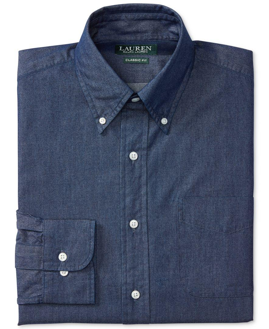 lauren by ralph lauren men 39 s classic fit non iron indigo
