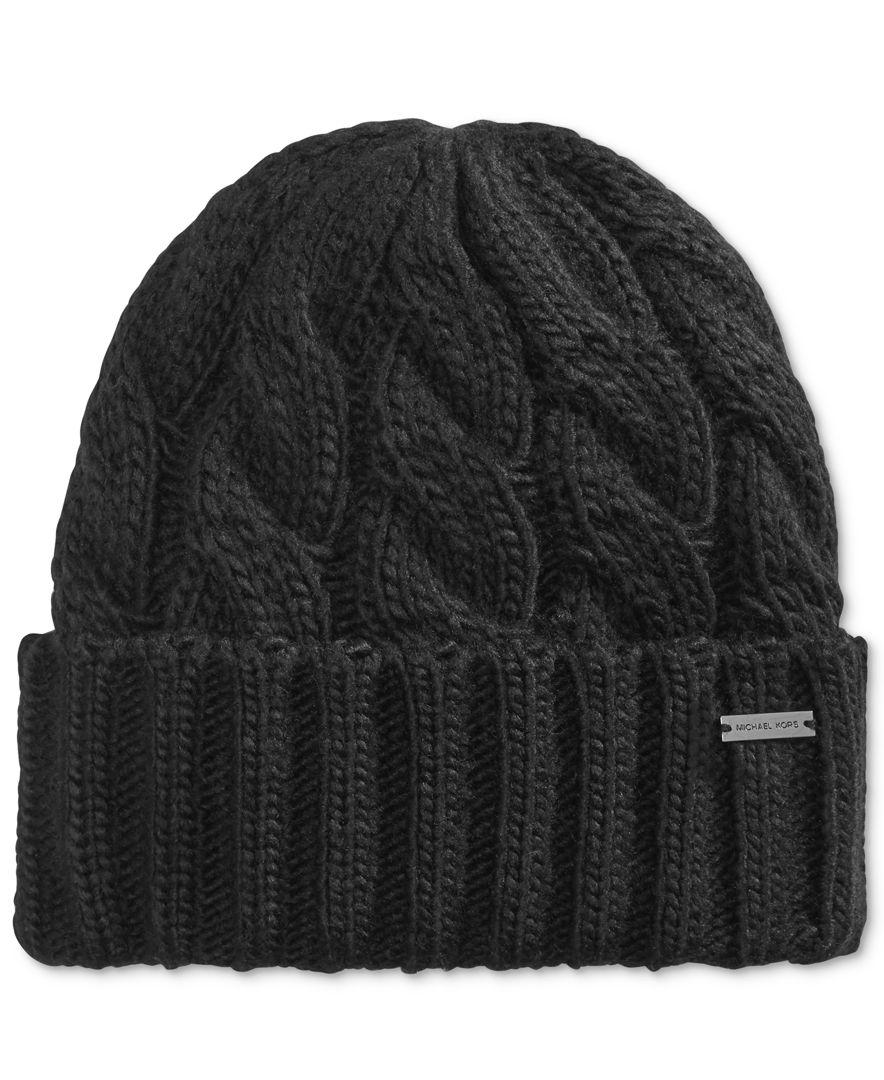 Lyst - Michael Kors Men s Cable Cuffed Hat in Black for Men 6fb1a070fef5