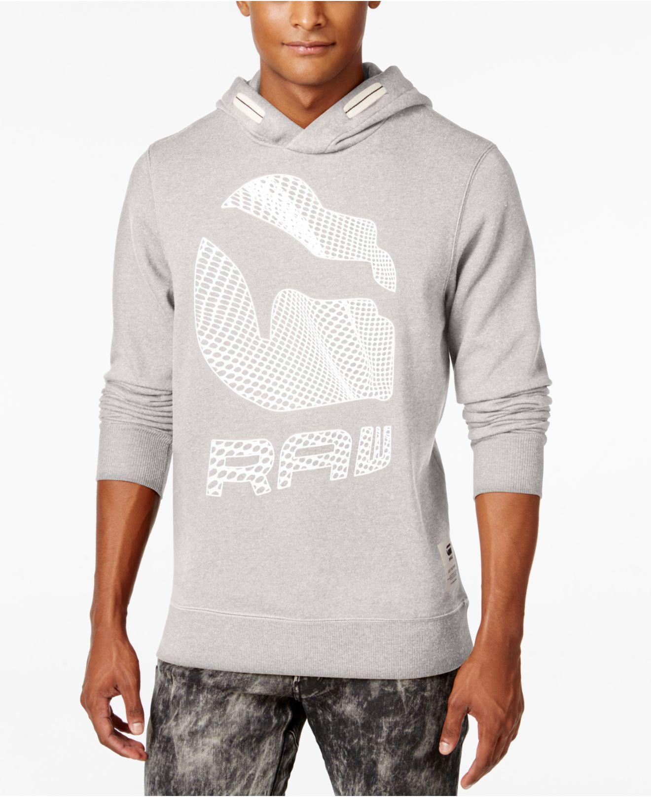 lyst g star raw men 39 s graphic print hoodie in white for men. Black Bedroom Furniture Sets. Home Design Ideas
