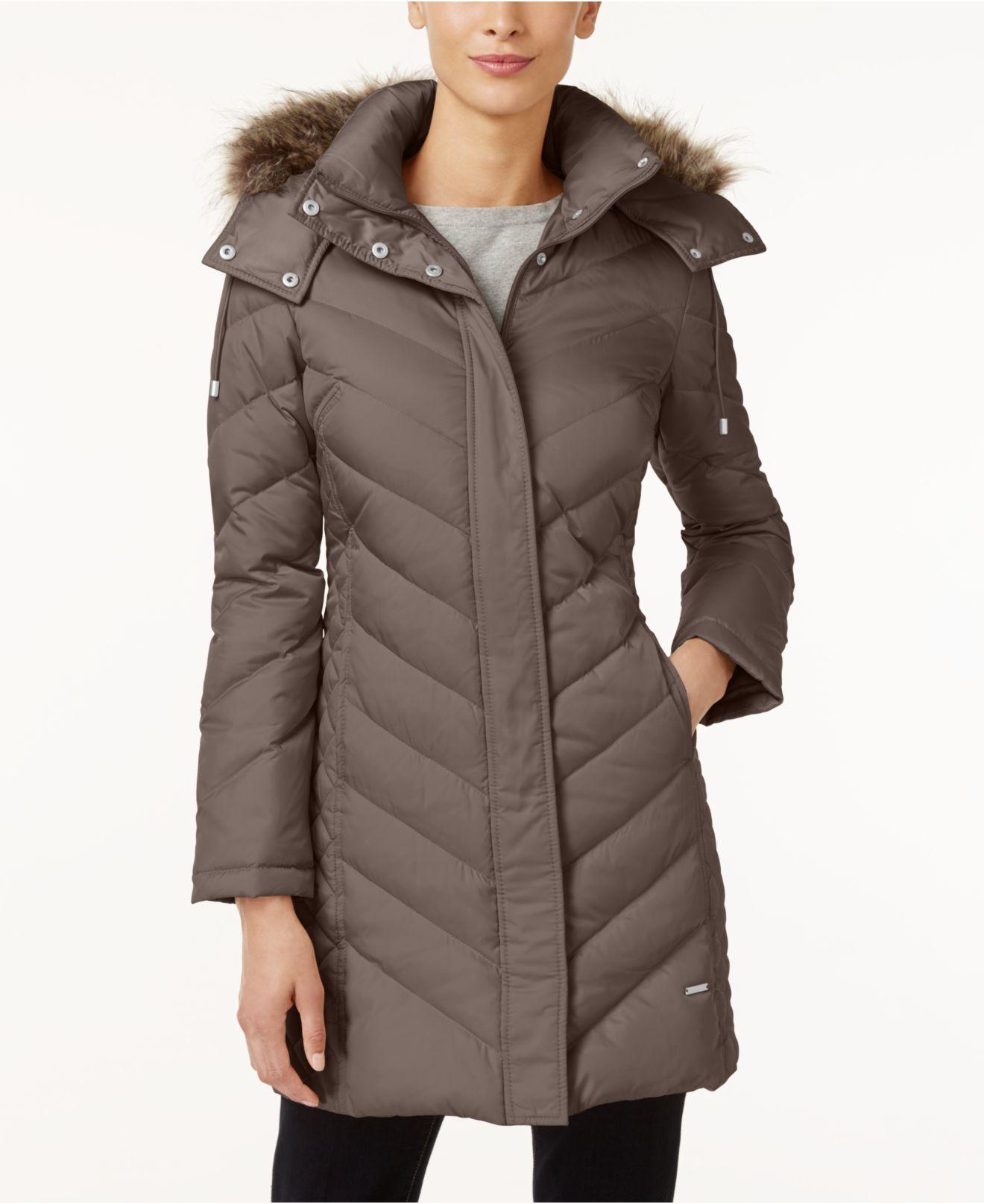 Kenneth cole Faux-Fur-Trim Chevron Quilted Down Coat in Brown ... : kenneth cole chevron quilted coat - Adamdwight.com