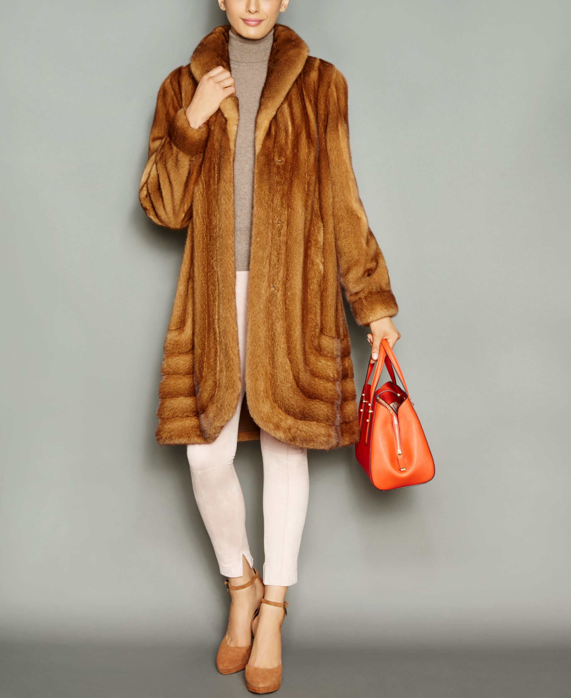 The fur vault Shawl-collar Mink Fur Coat in Multicolor
