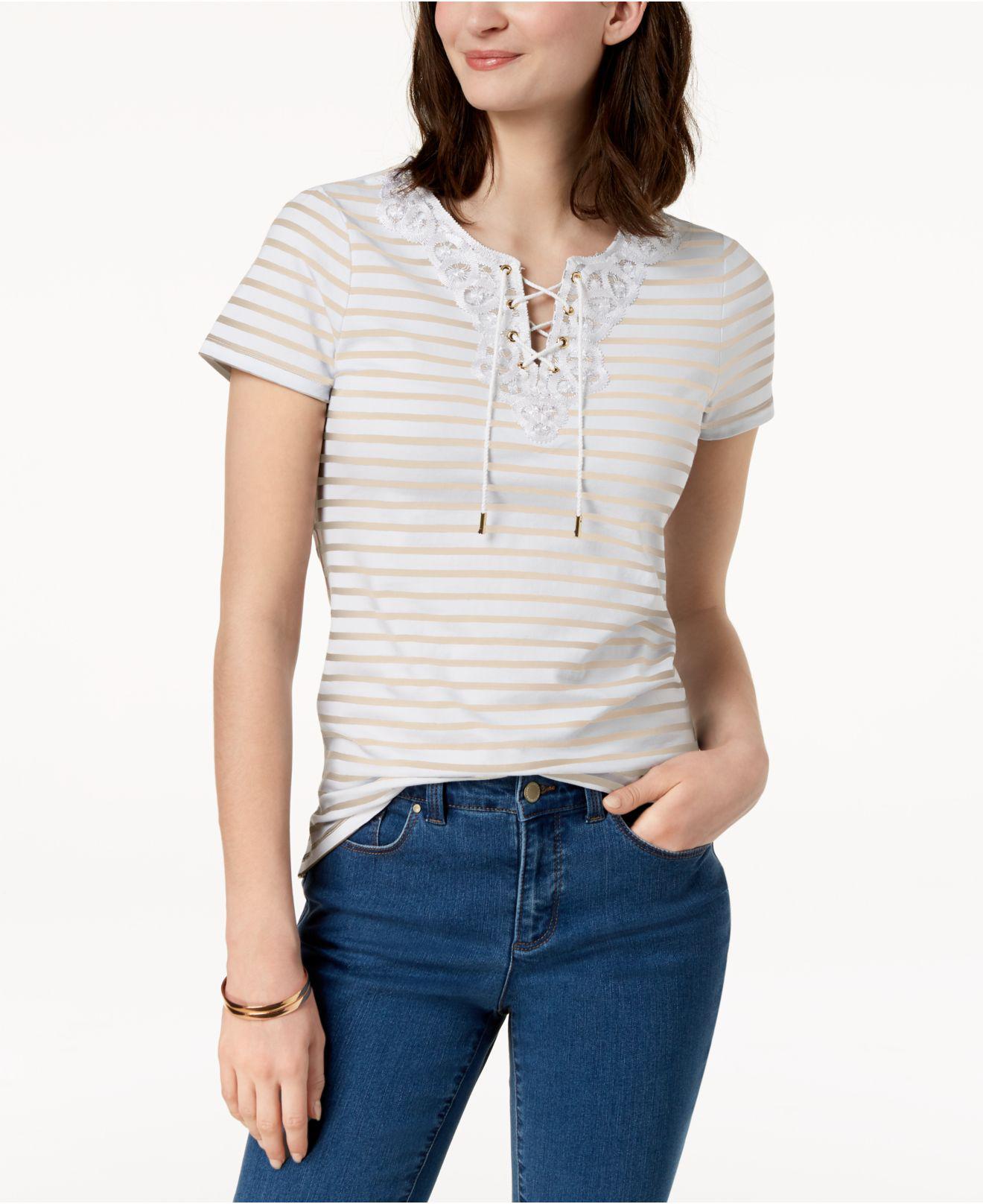 5bfdc219113 Lyst - Charter Club Petite Lace-trim T-shirt