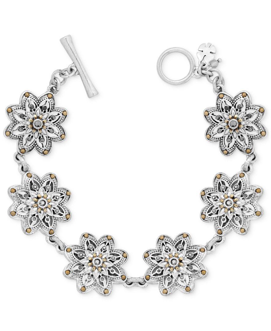 Lucky brand two tone flower link bracelet in metallic lyst for Macy s lucky brand jewelry