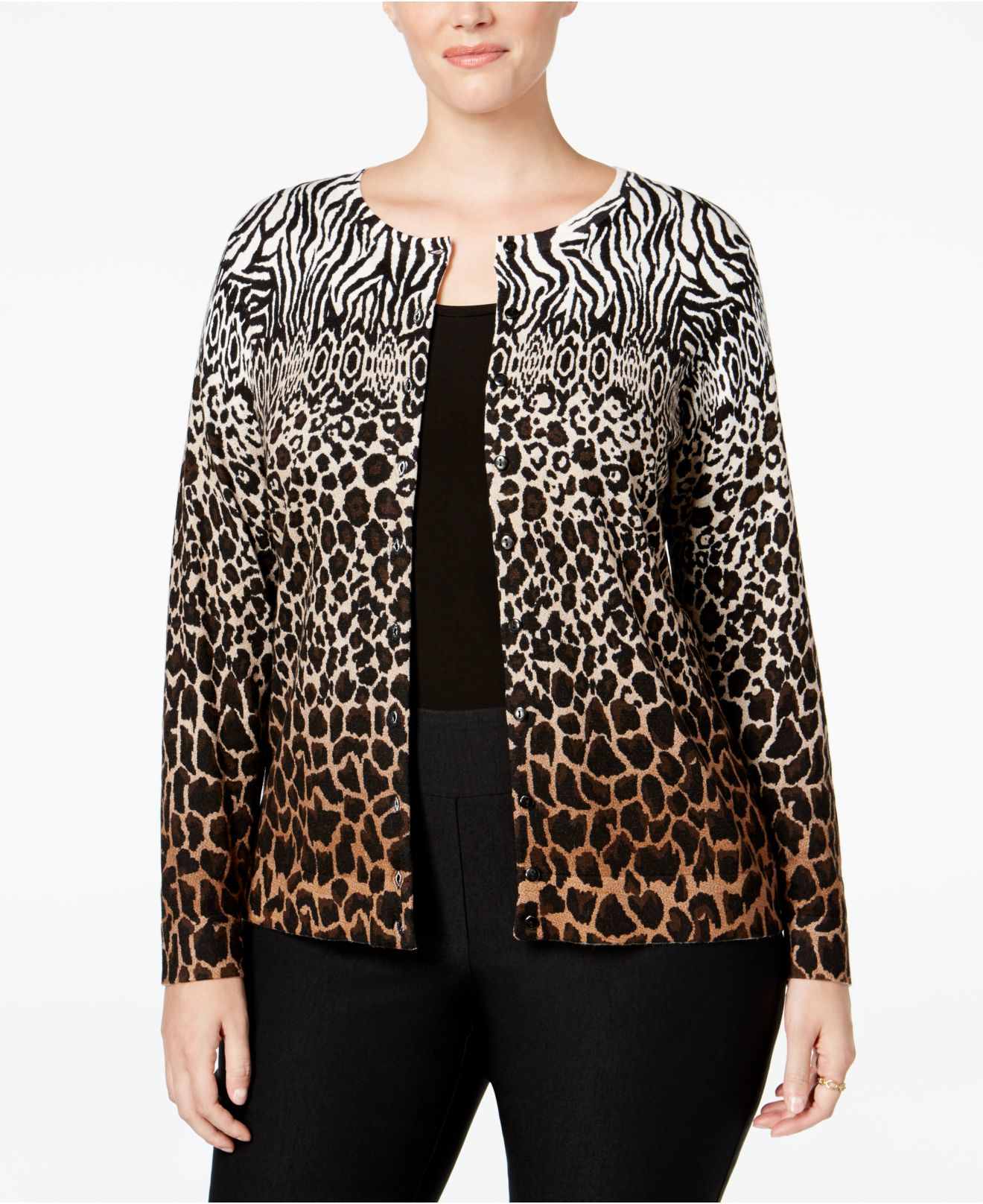 Lyst Charter Club Plus Size Animal Print Ombr 233 Sweater