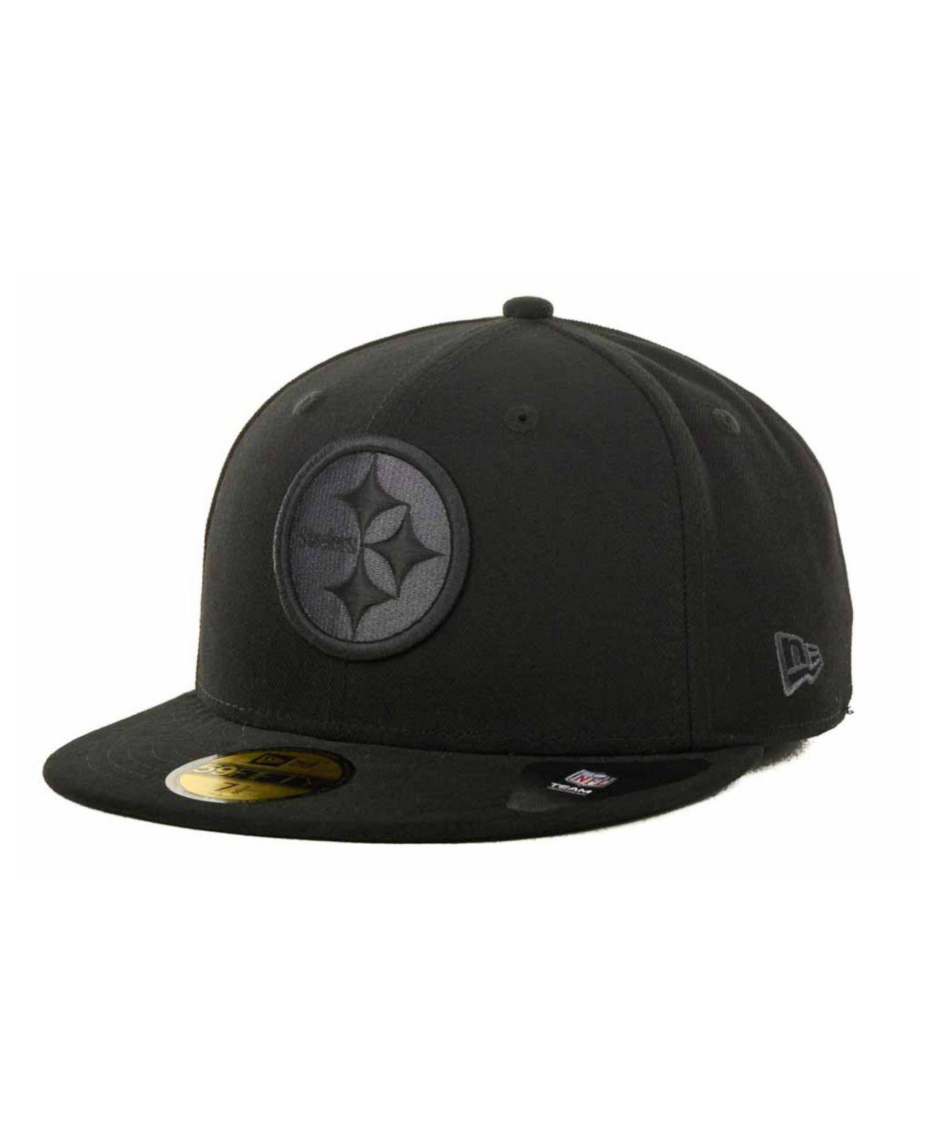 c4d77faa328 Lyst - KTZ Pittsburgh Steelers Black Gray 59fifty Hat in Black for Men