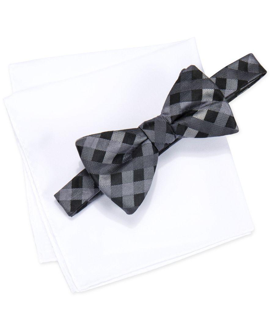 alfani s mars gingham bow tie solid pocket square