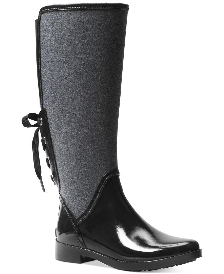 239c0fda561 Lyst - Michael Kors Michael Larson Back-tie Rain Boots in Black