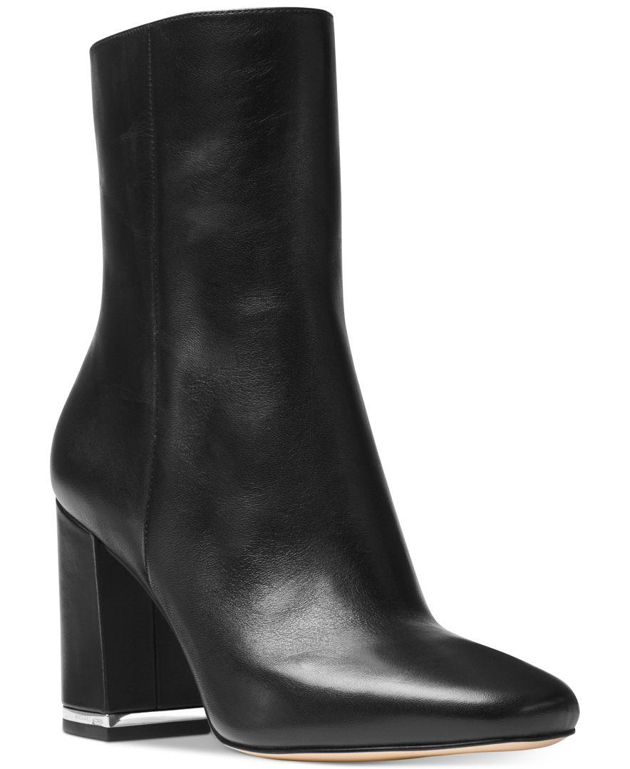 Lyst Michael Kors Michael Ursula Block Heel Booties In Black