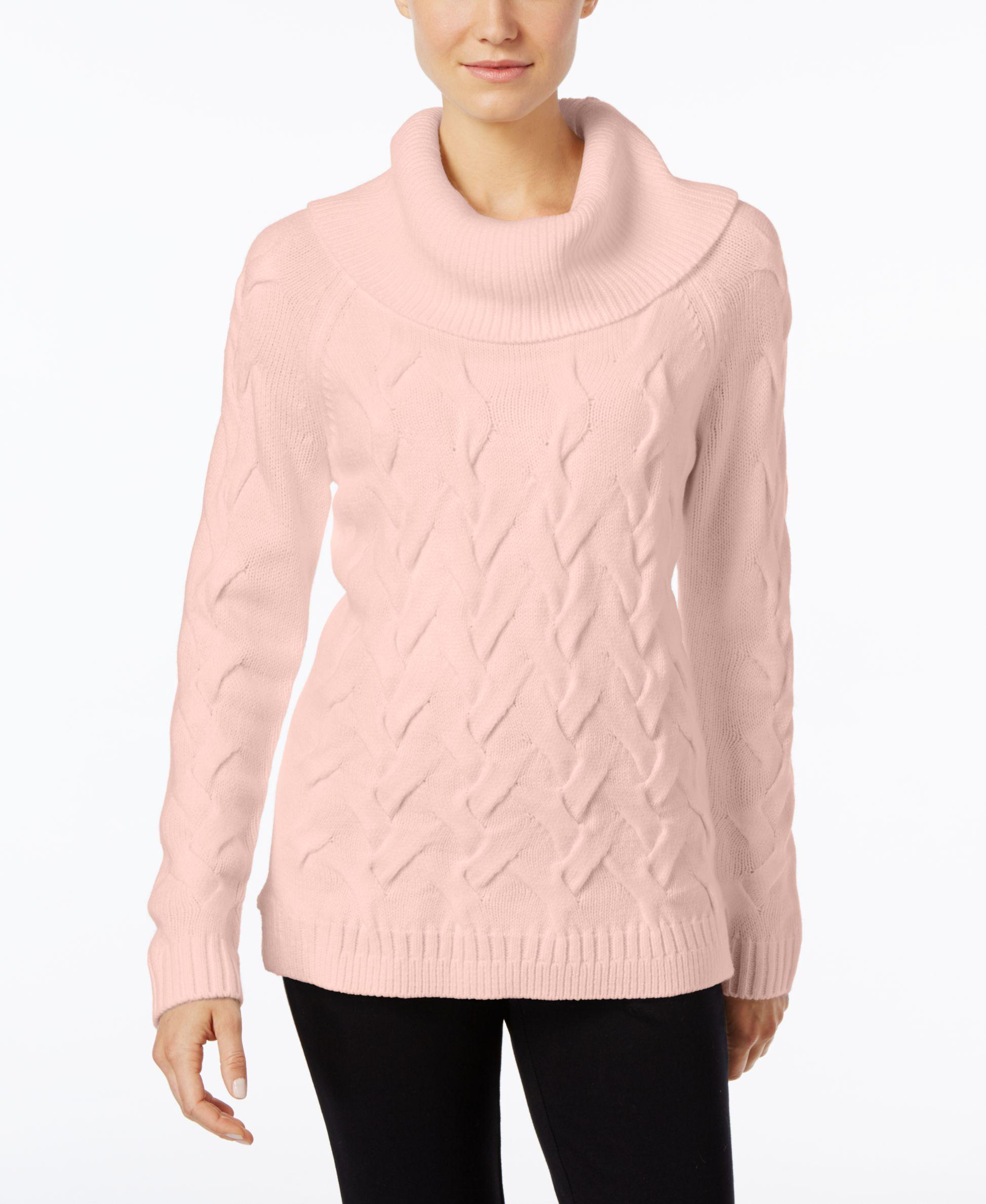 calvin klein cable knit cowl neck sweater in pink lyst. Black Bedroom Furniture Sets. Home Design Ideas