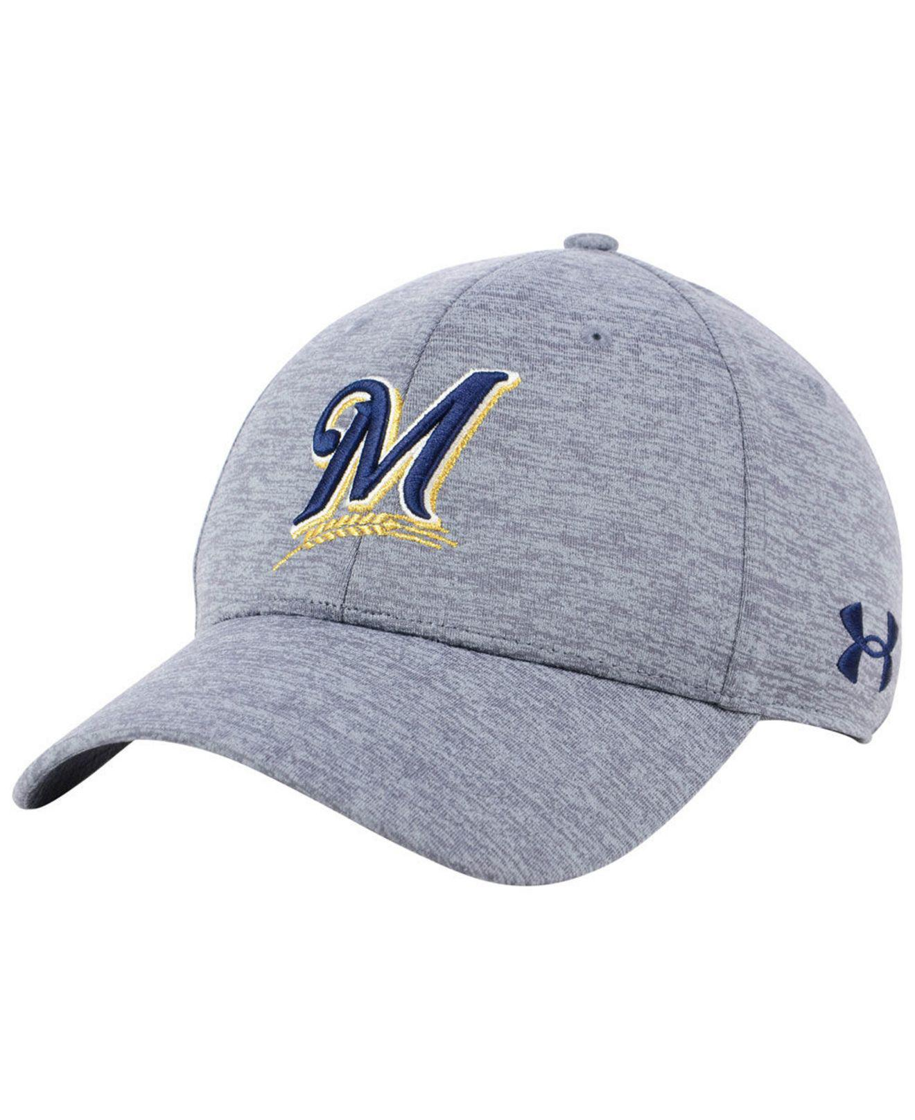 4f2f218024596 Lyst - Under Armour Milwaukee Brewers Twist Closer Cap in Gray for Men