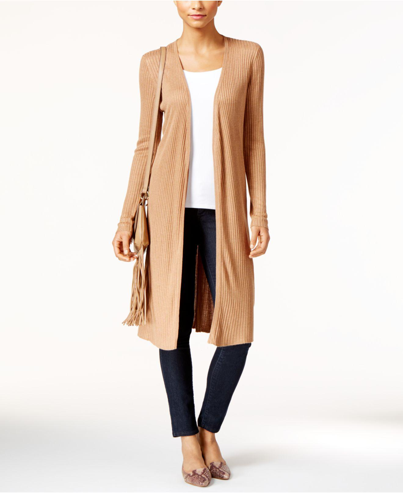 Inc international concepts Petite Ribbed Open-front Duster ...