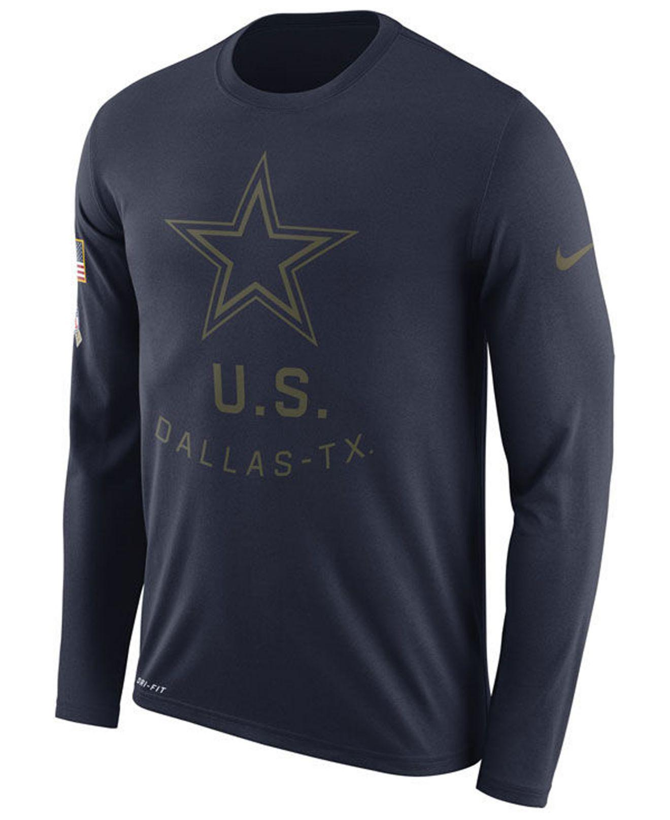 Nike - Blue Dallas Cowboys Salute To Service Legend Long Sleeve T-shirt for  Men. View fullscreen cd05af9a2