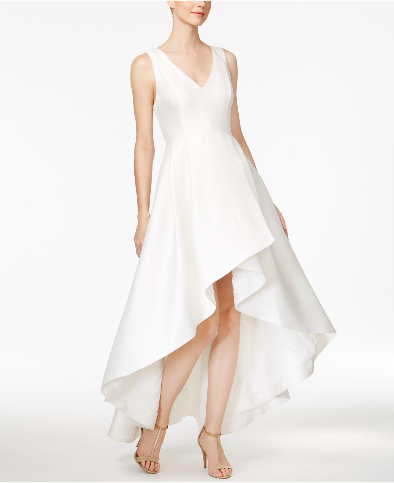53a538ccf4a8 Lyst - Calvin Klein High-low A-line Gown in White