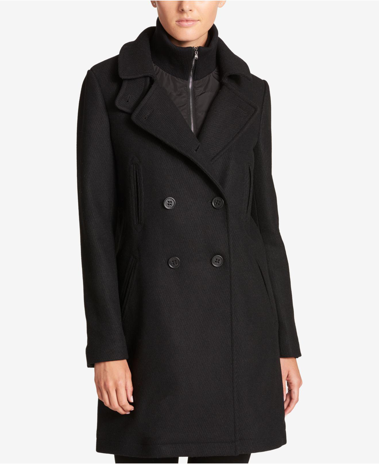 4697206a3f0 Lyst - DKNY Double-breasted Wool-blend Walker Coat With Inner Vest ...