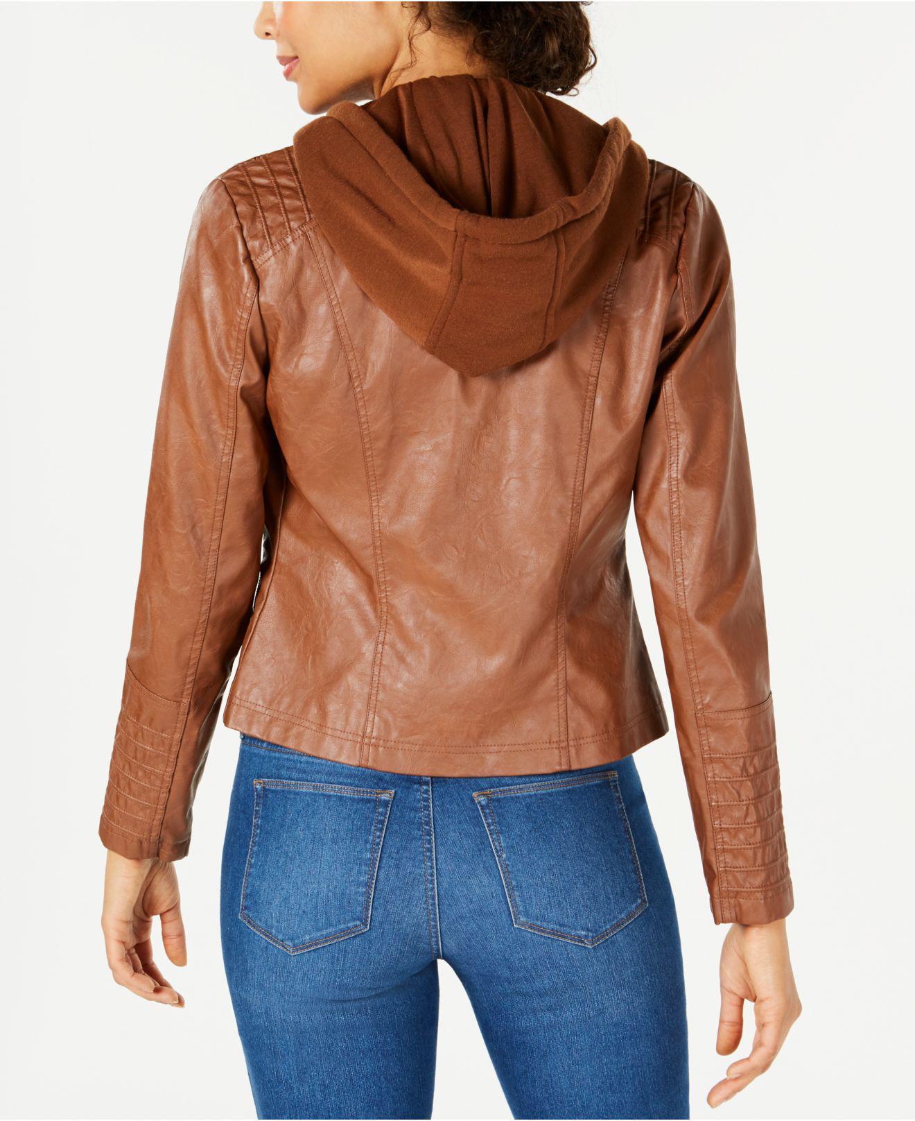 711dba71d6b Lyst - Maralyn   Me Juniors  Hooded Faux-leather Moto Jacket