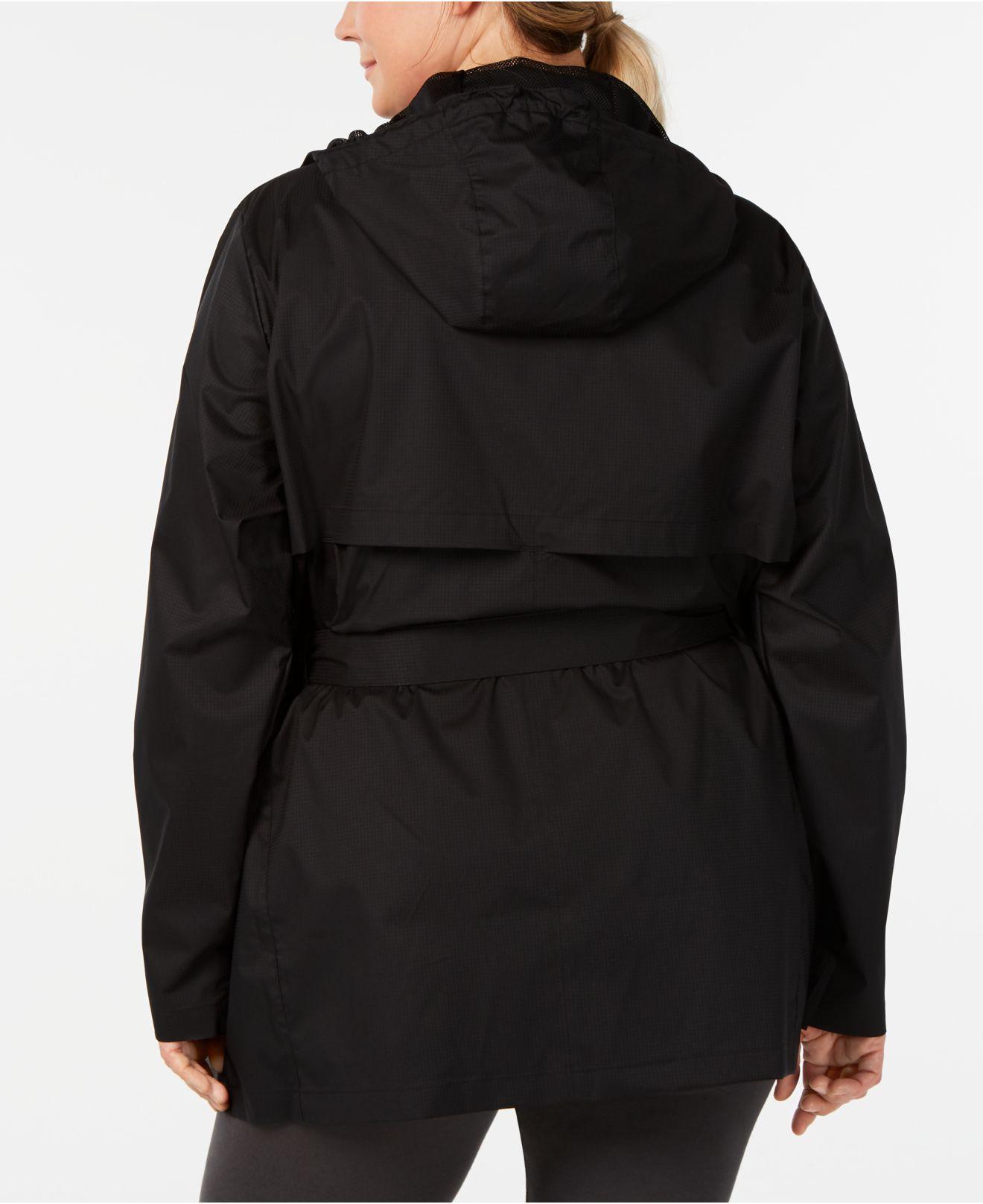 7687cdb4888 Women s Black Plus Size Belted Rain Jacket