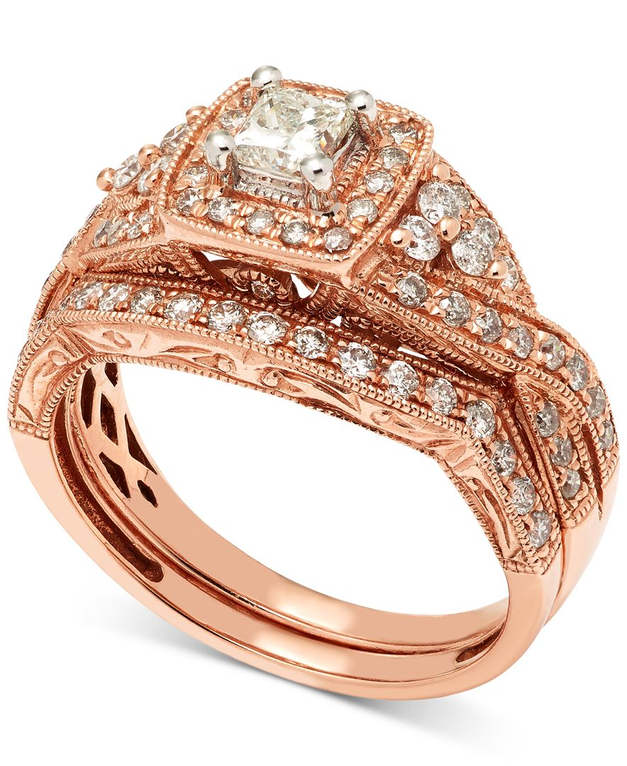 Macy s Diamond Milgrain Bridal Set 1 Ct T w In 14k Rose Gold in Multi